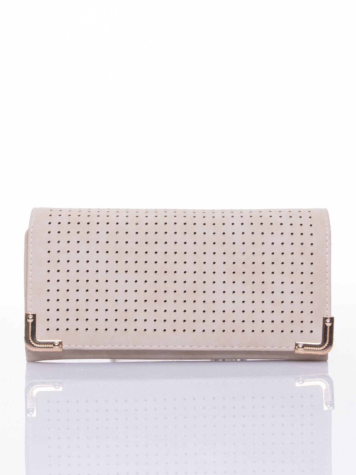 Kremowy dziurkowany portfel ze złotym wykończeniem                                  zdj.                                  1