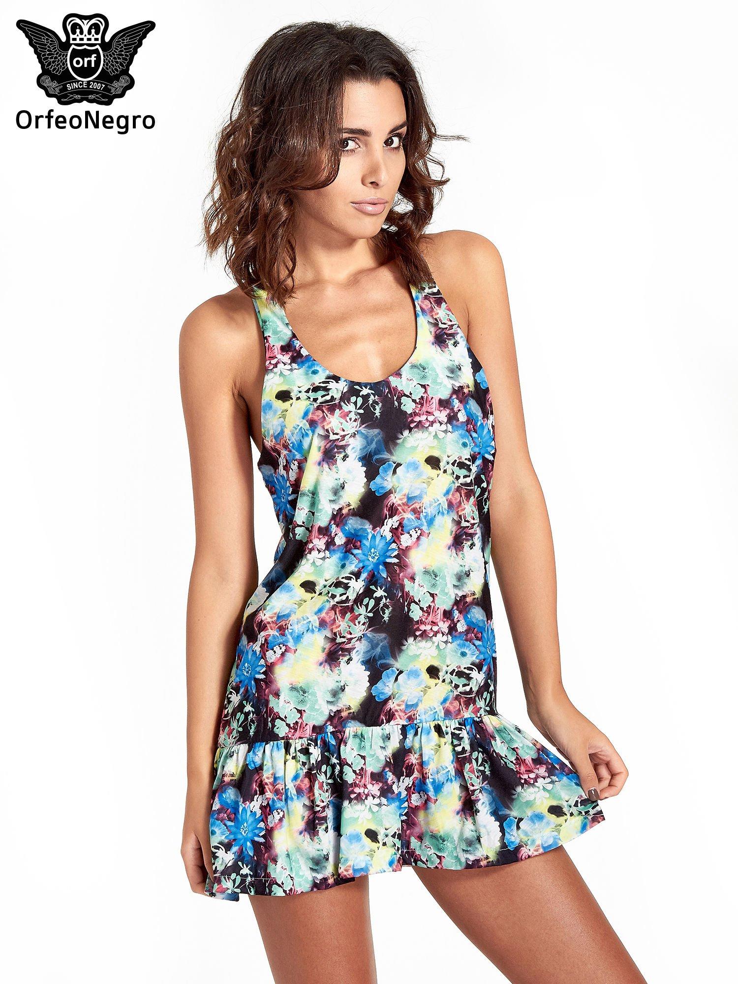 Kwiatowa sukienka z falbaną                                  zdj.                                  1