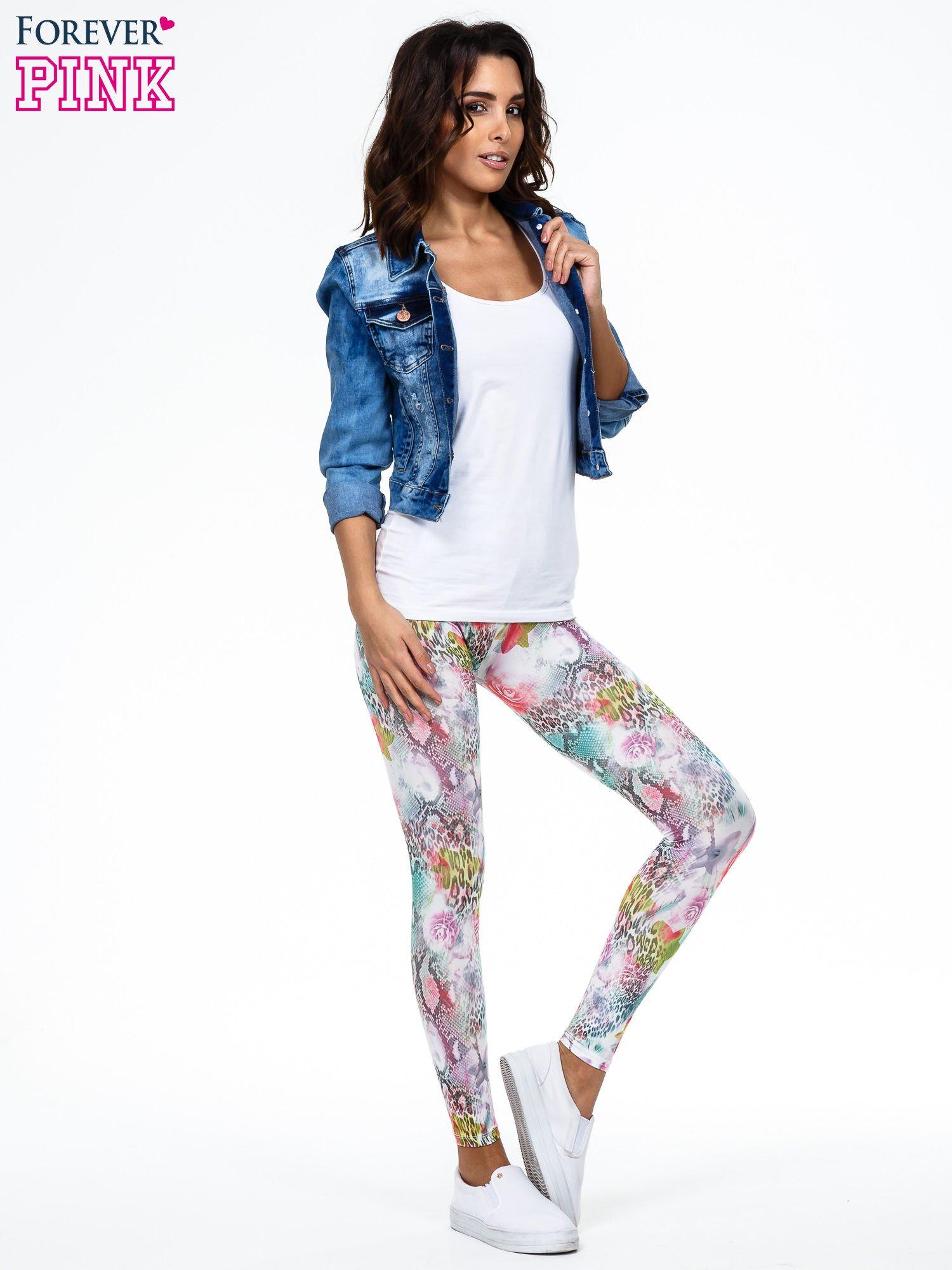 Kwiatowe legginsy w różnobarwne wzory                                  zdj.                                  2