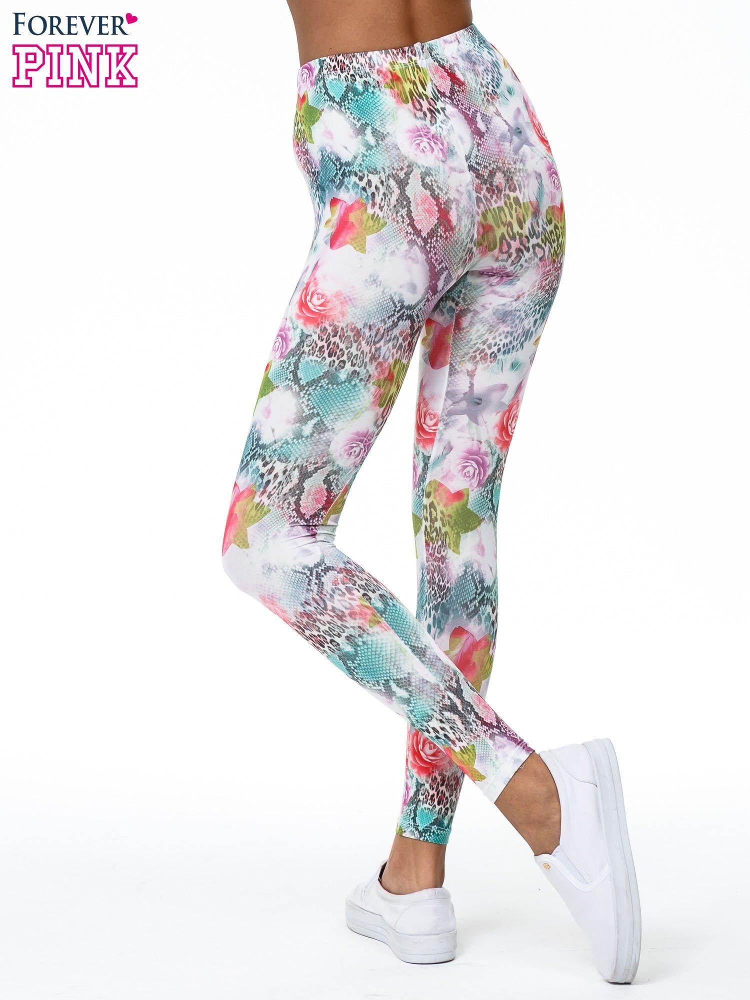 Kwiatowe legginsy w różnobarwne wzory                                  zdj.                                  4