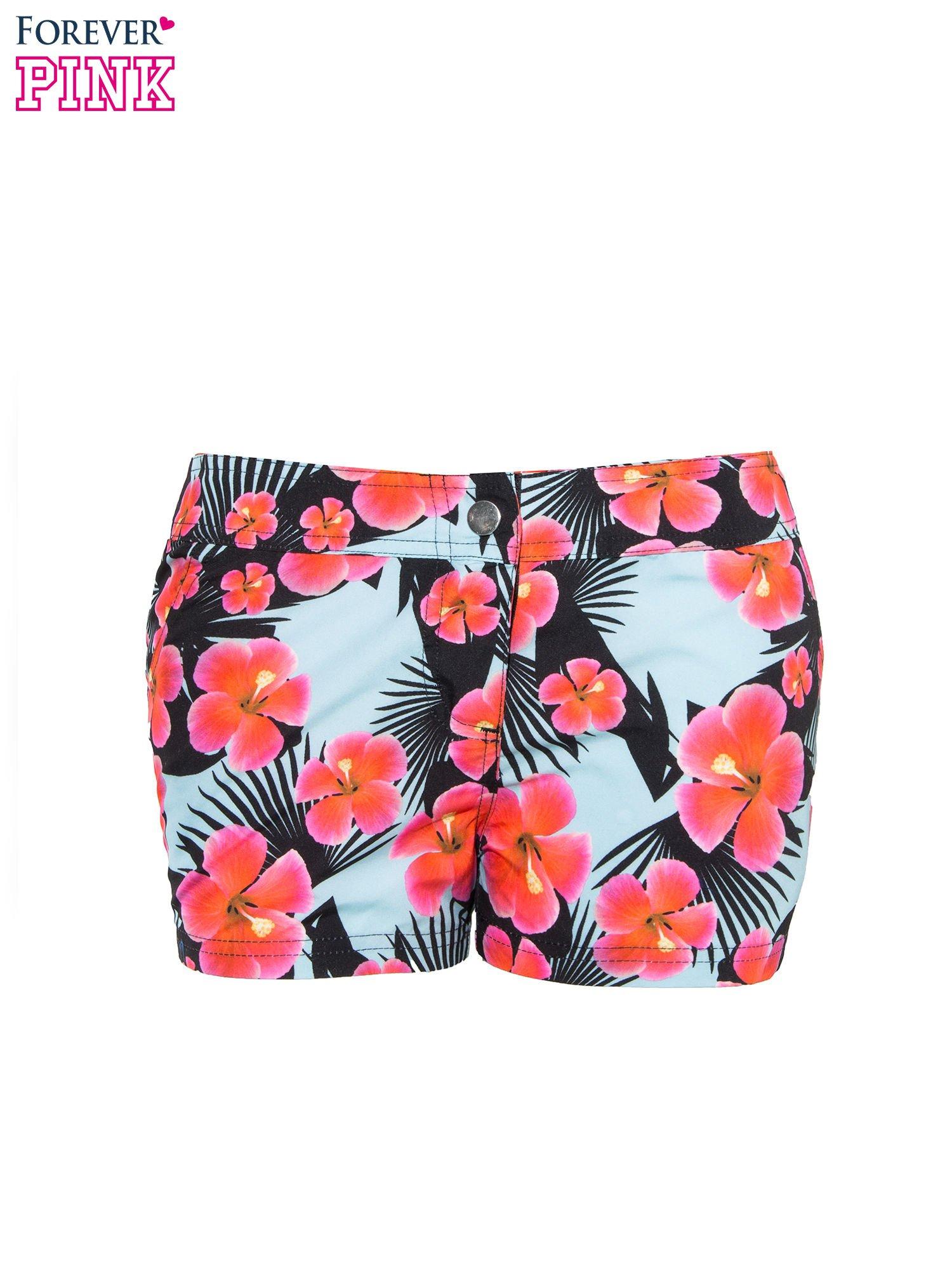Kwiatowe szorty plażowe zapinane na guzik                                  zdj.                                  8