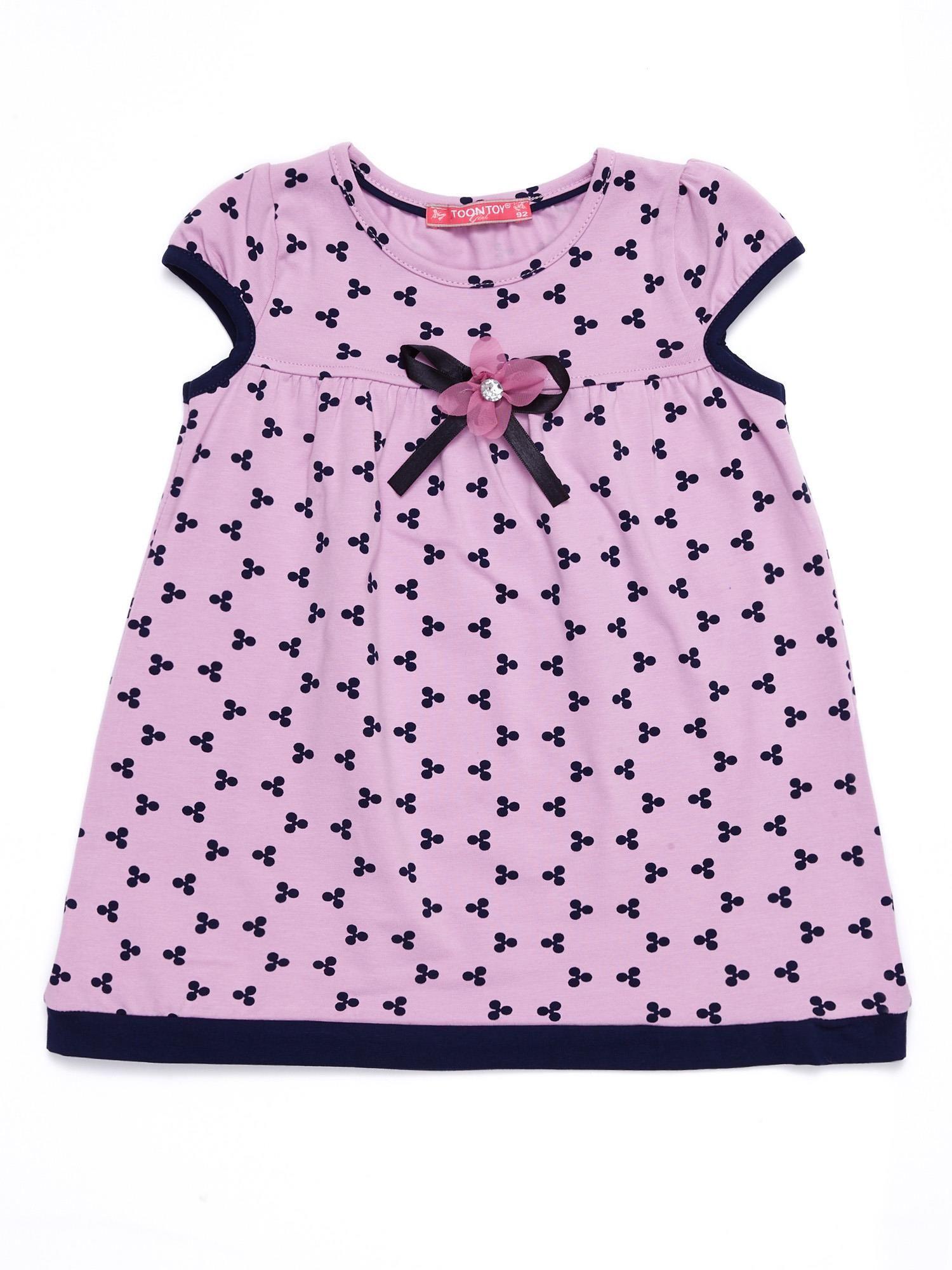 61c9639200 Liliowa sukienka dziecięca z nadrukiem all over - Dziecko ...
