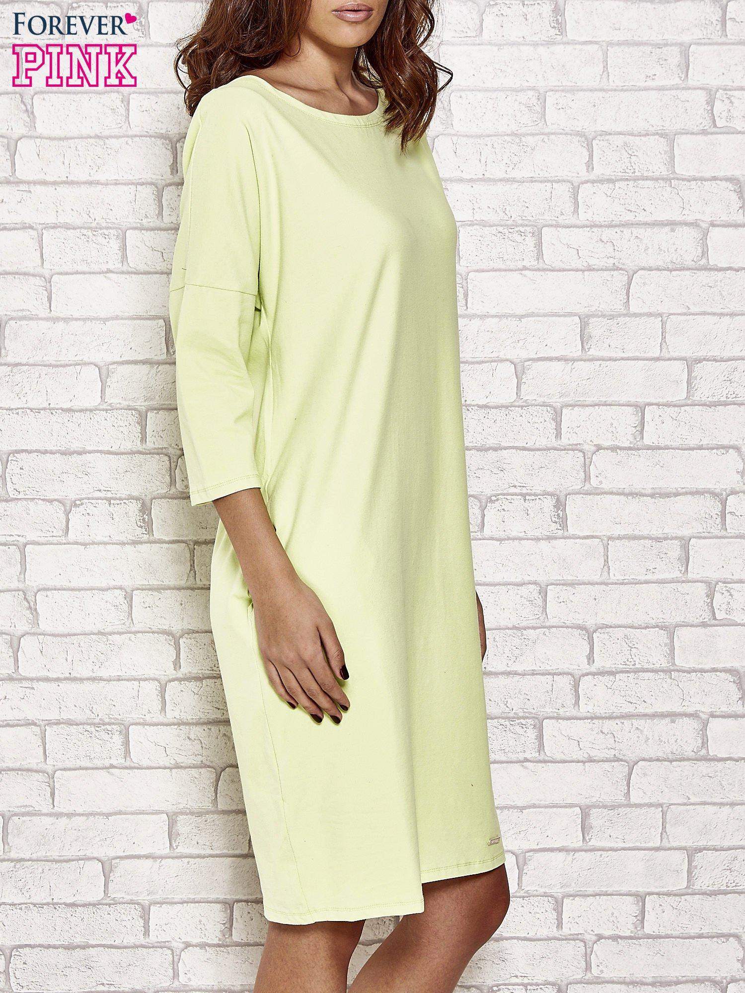 Limonkowa prosta sukienka dresowa                                  zdj.                                  3