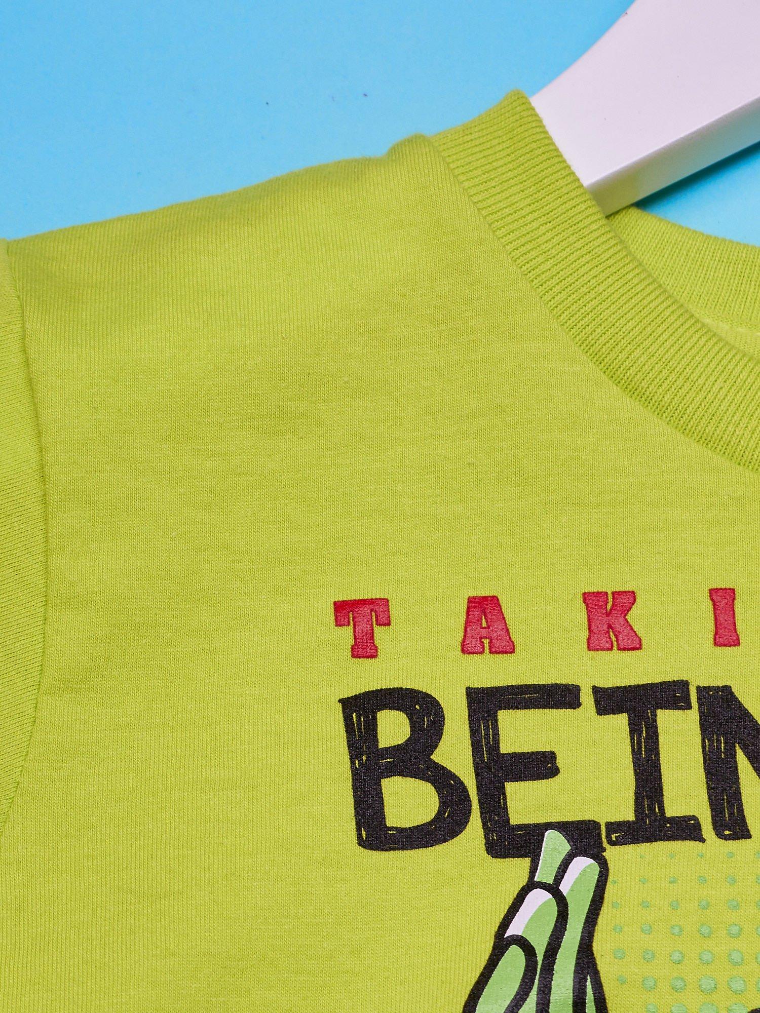 Limonkowy t-shirt chłopięcy z nadrukiem MUPPETY                                  zdj.                                  3