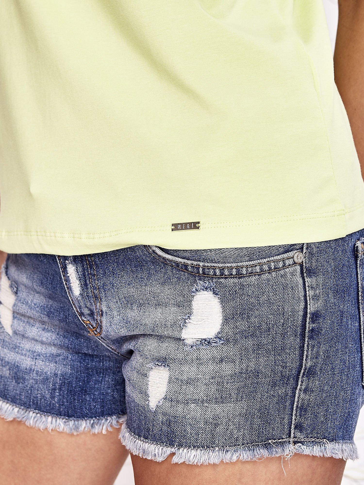 Limonkowy t-shirt z napisem JE T'AIME i dekoltem na plecach                                  zdj.                                  6