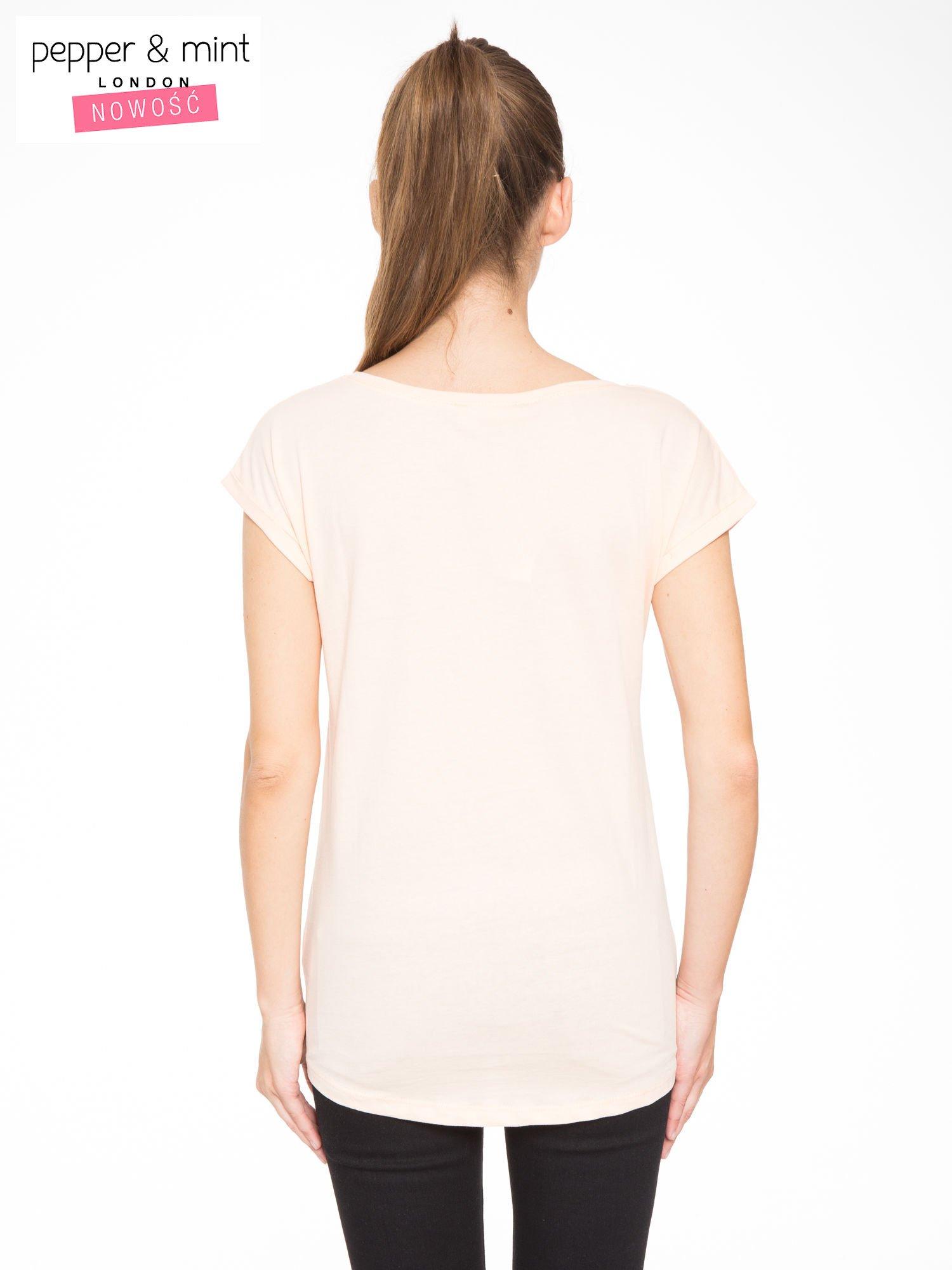 Łososiowy t-shirt z nadrukiem roweru                                  zdj.                                  3