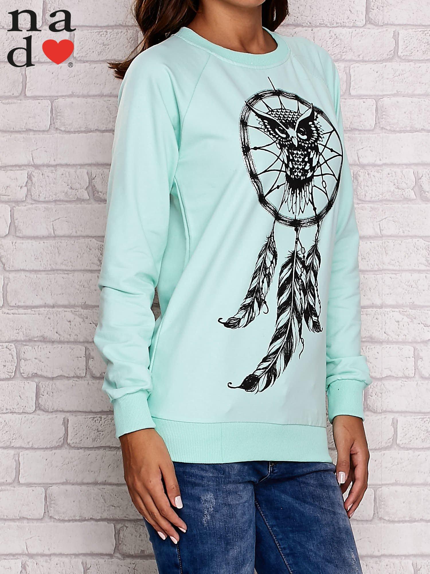 Miętowa bluza z motywem sowy i łapacza snów                                  zdj.                                  3