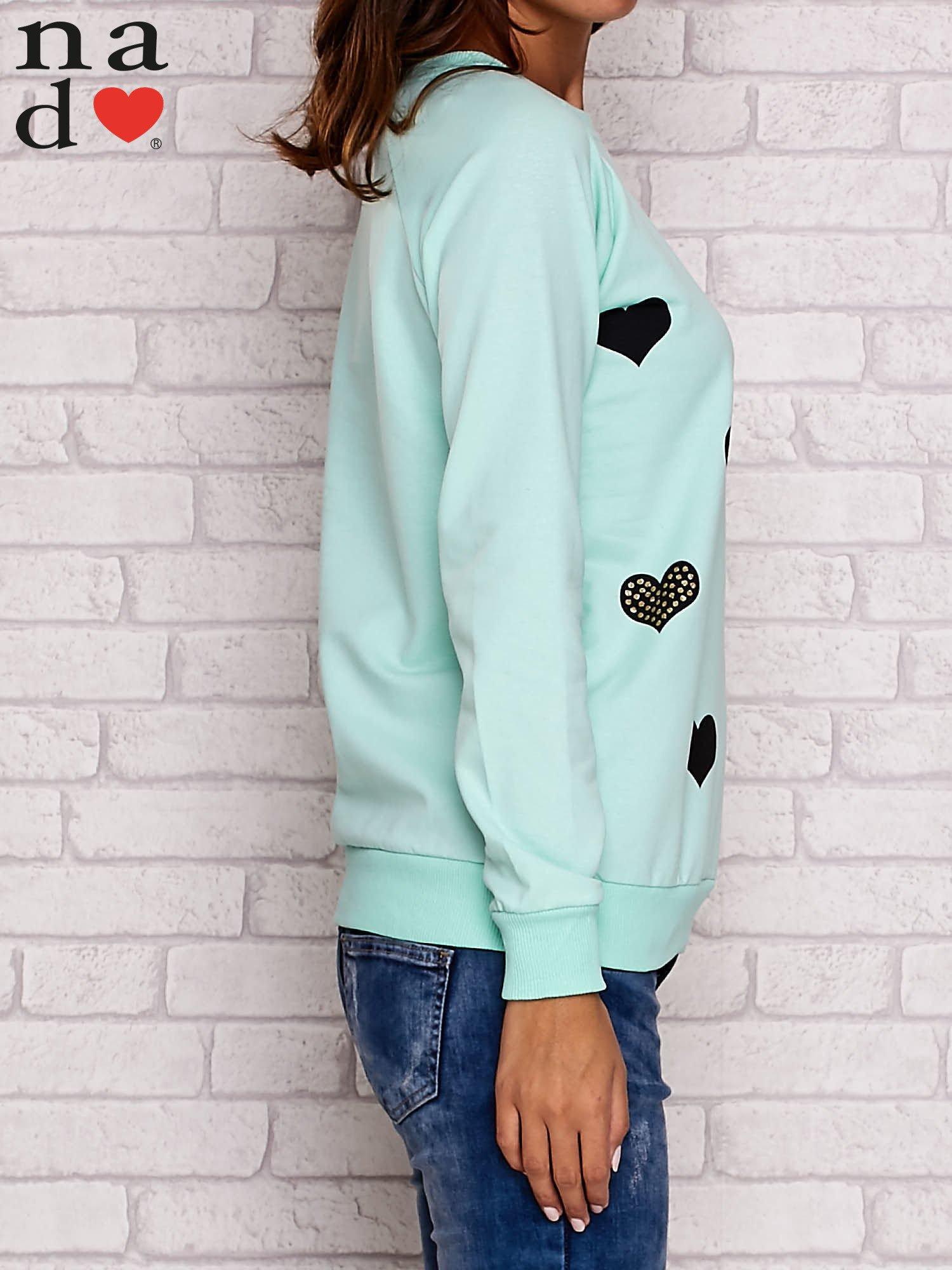 Miętowa bluza z serduszkami                                  zdj.                                  3