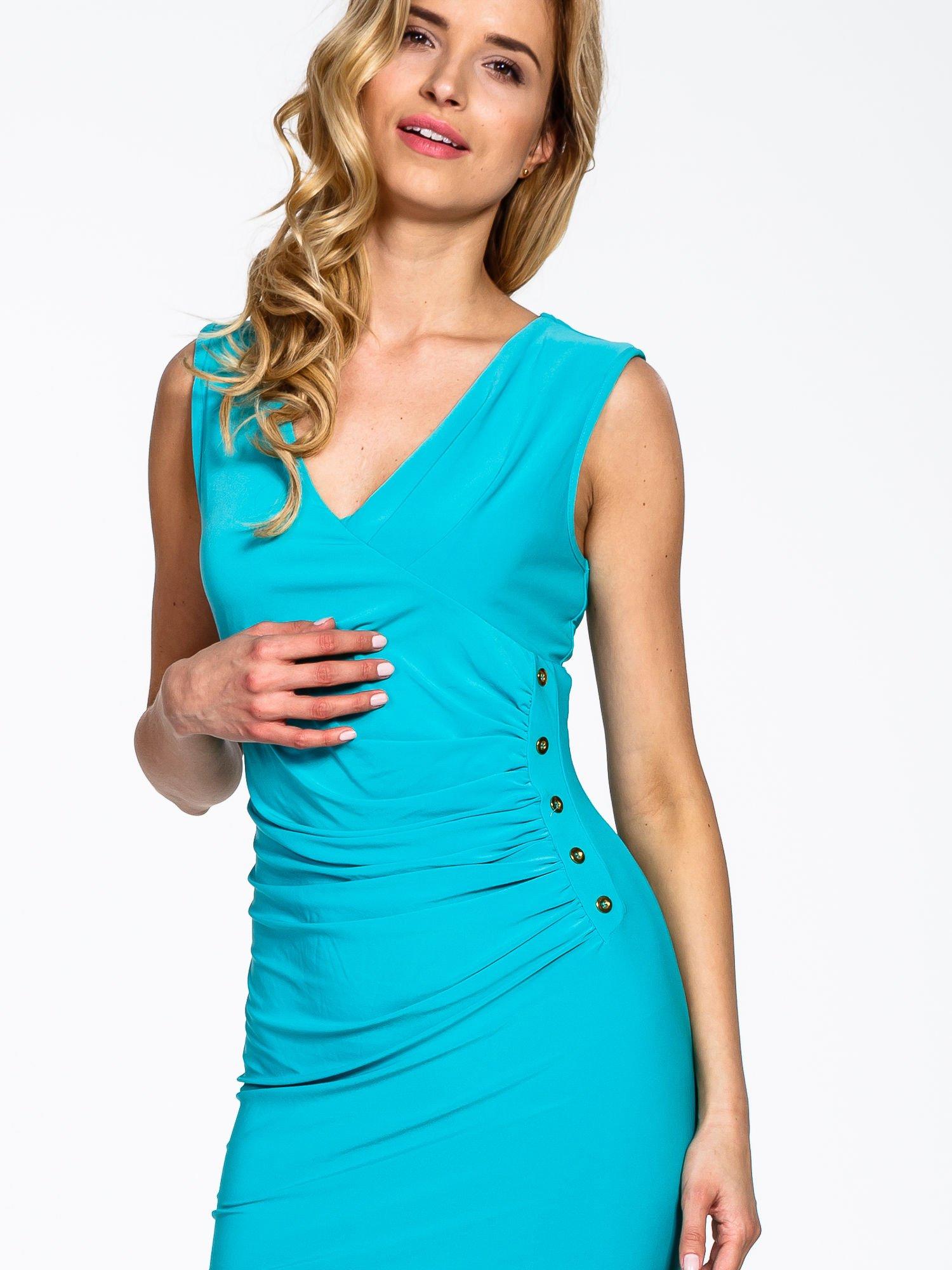 Miętowa sukienka z drapowaniem                                  zdj.                                  5