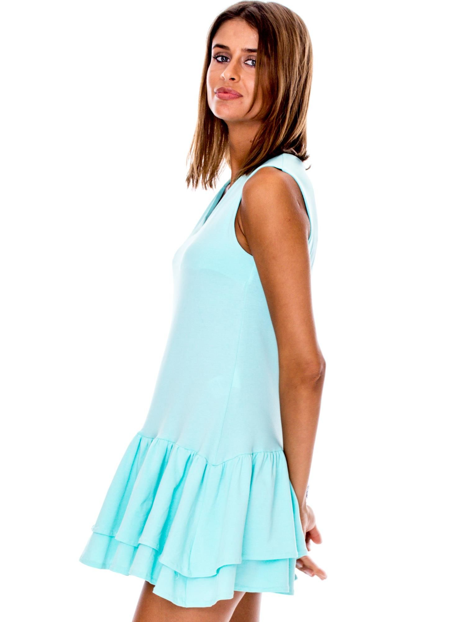 d21950fc48 Miętowa sukienka z warstwowymi falbanami - Sukienka na co dzień - sklep  eButik.pl