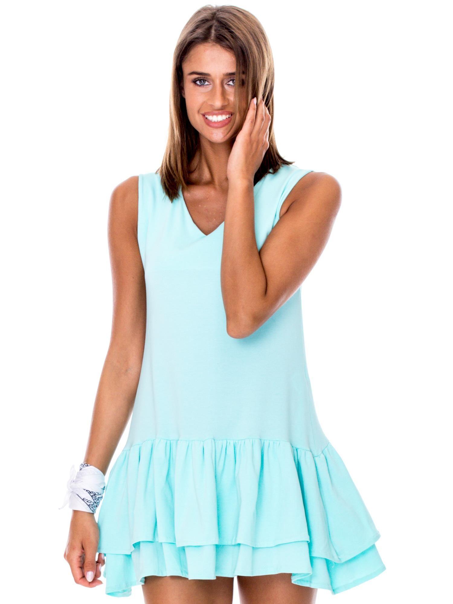 c990d82243 Miętowa sukienka z warstwowymi falbanami - Sukienka na co dzień ...