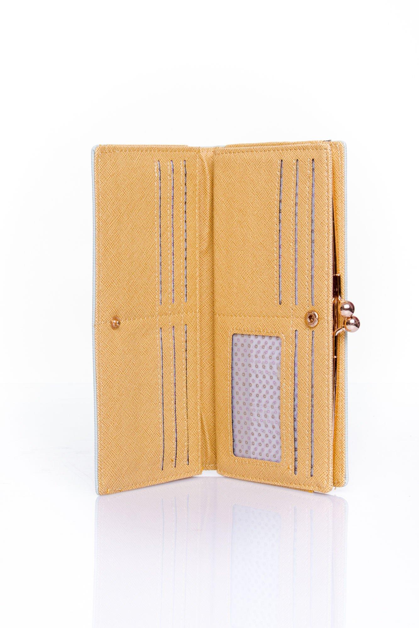 Miętowy portfel z biglem efekt saffiano                                   zdj.                                  3