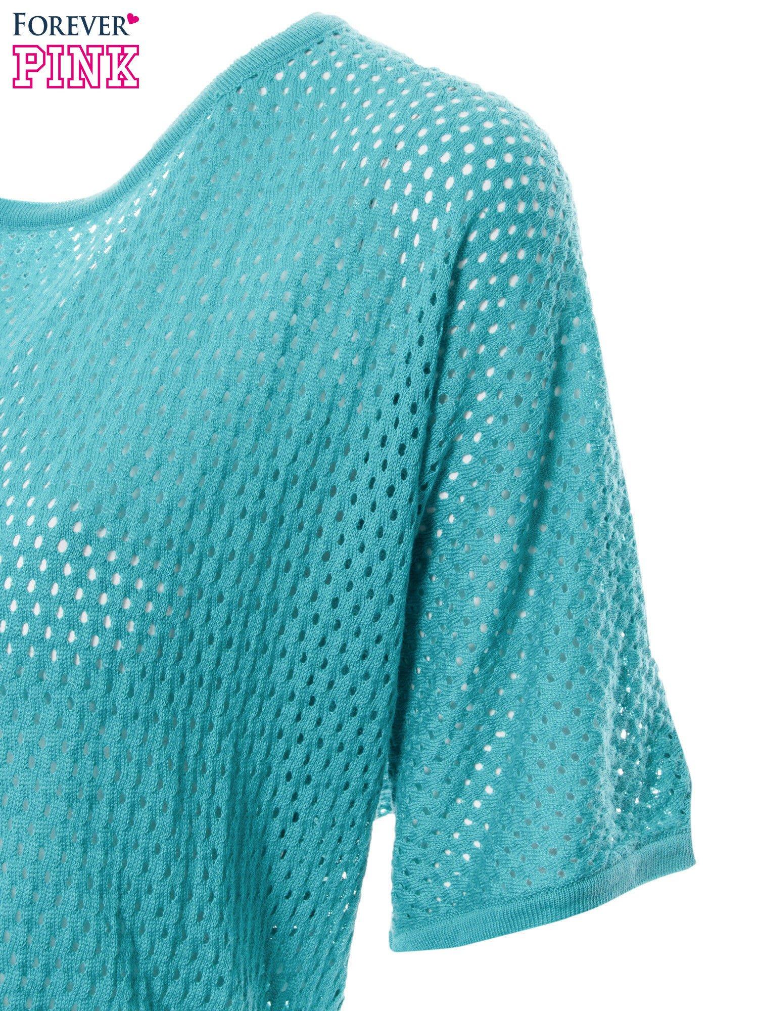 Miętowy siateczkowy sweter oversize                                  zdj.                                  6