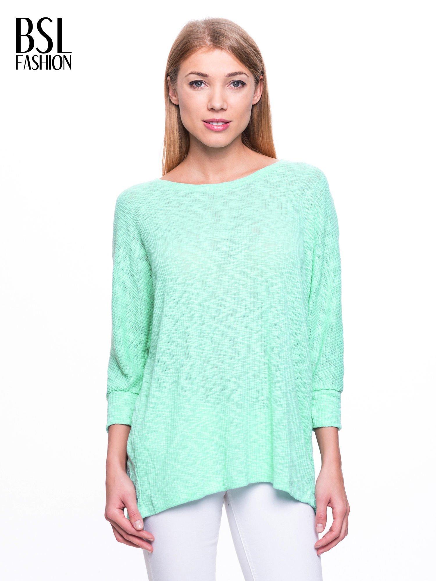 Miętowy sweter z rozcięciem na plecach                                  zdj.                                  1