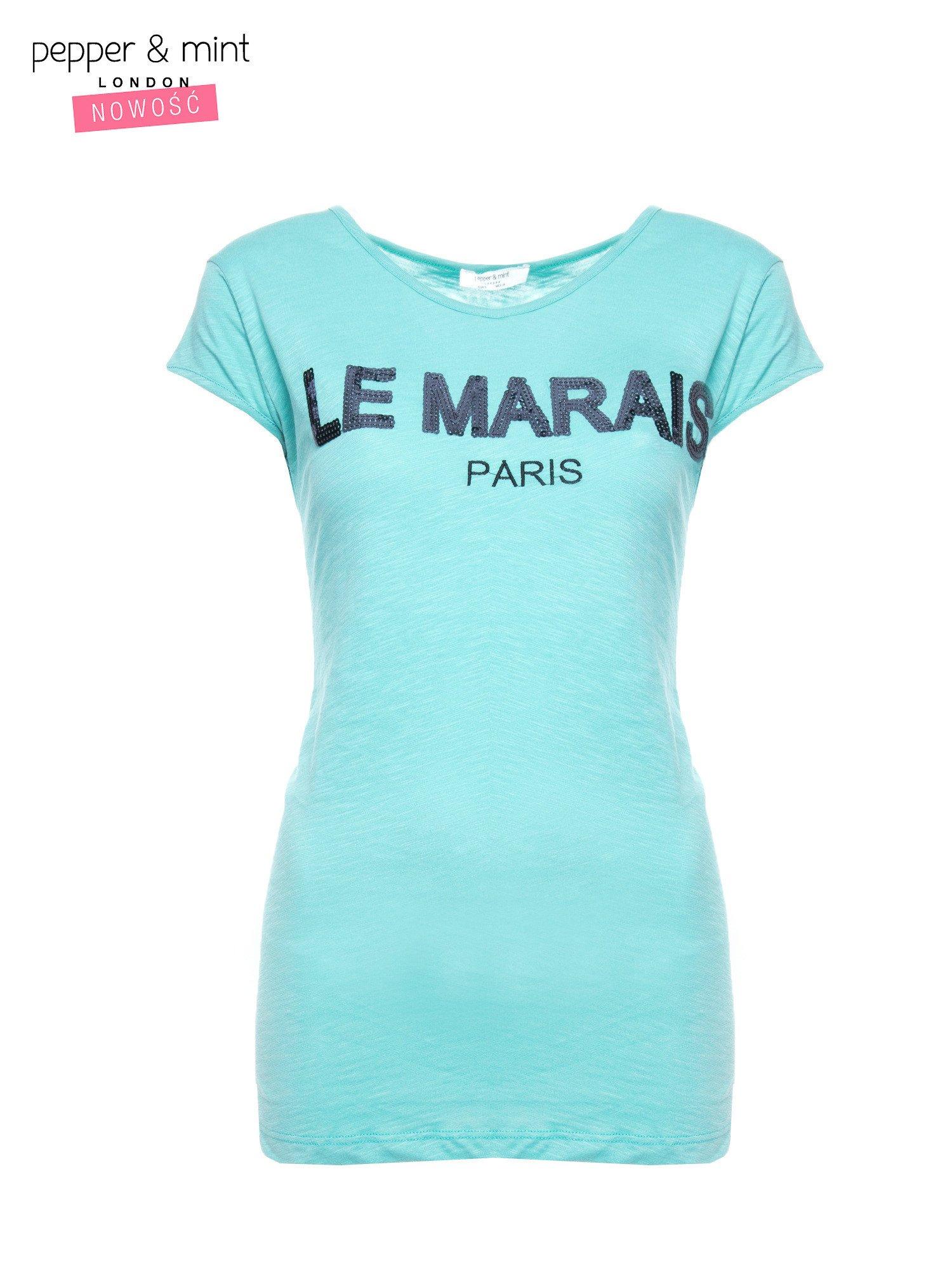 Miętowy t-shirt z nadrukiem LE MARAIS                                  zdj.                                  2