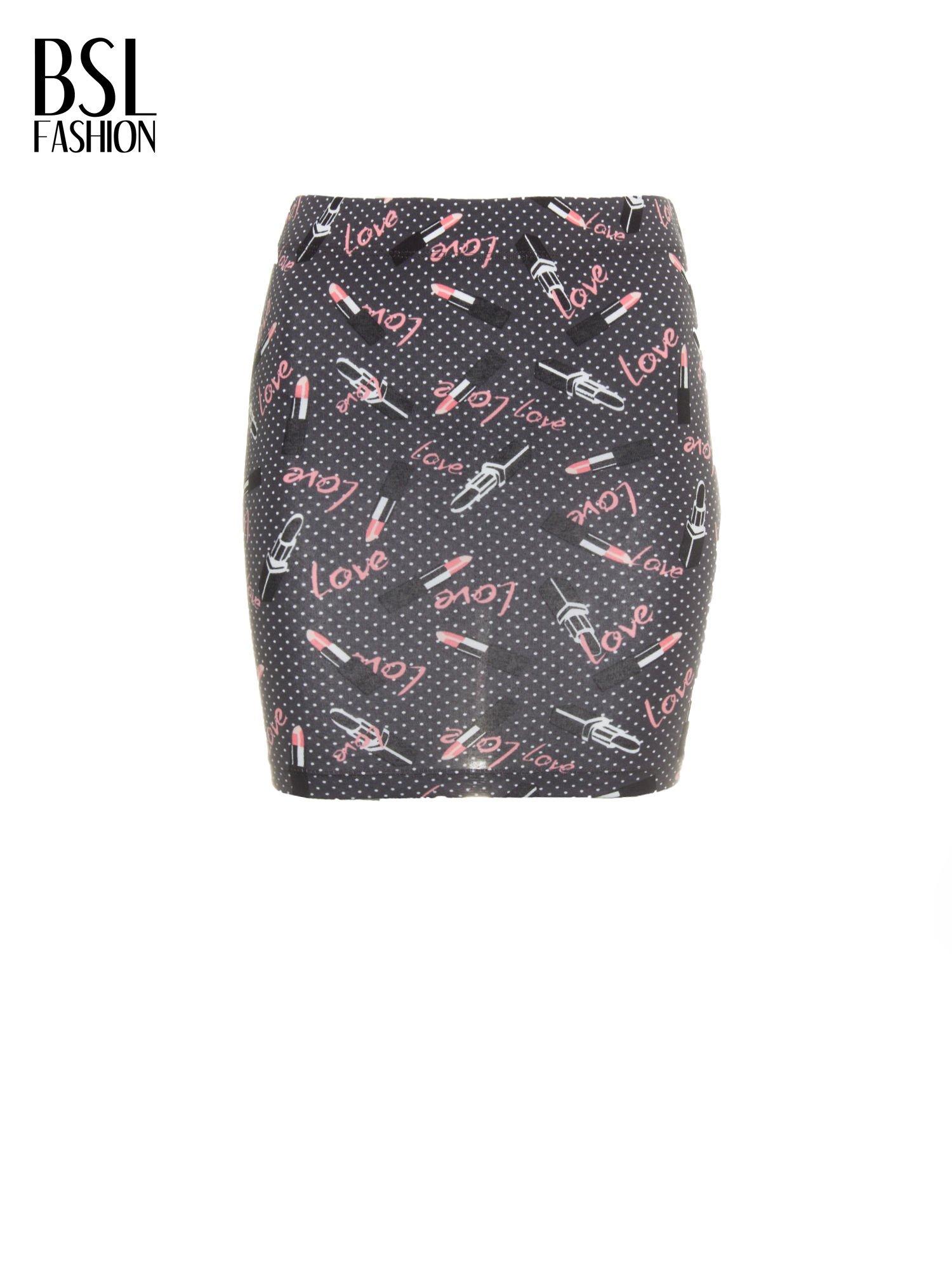 Mini spódnica tuba w nadruk LOVE                                  zdj.                                  2