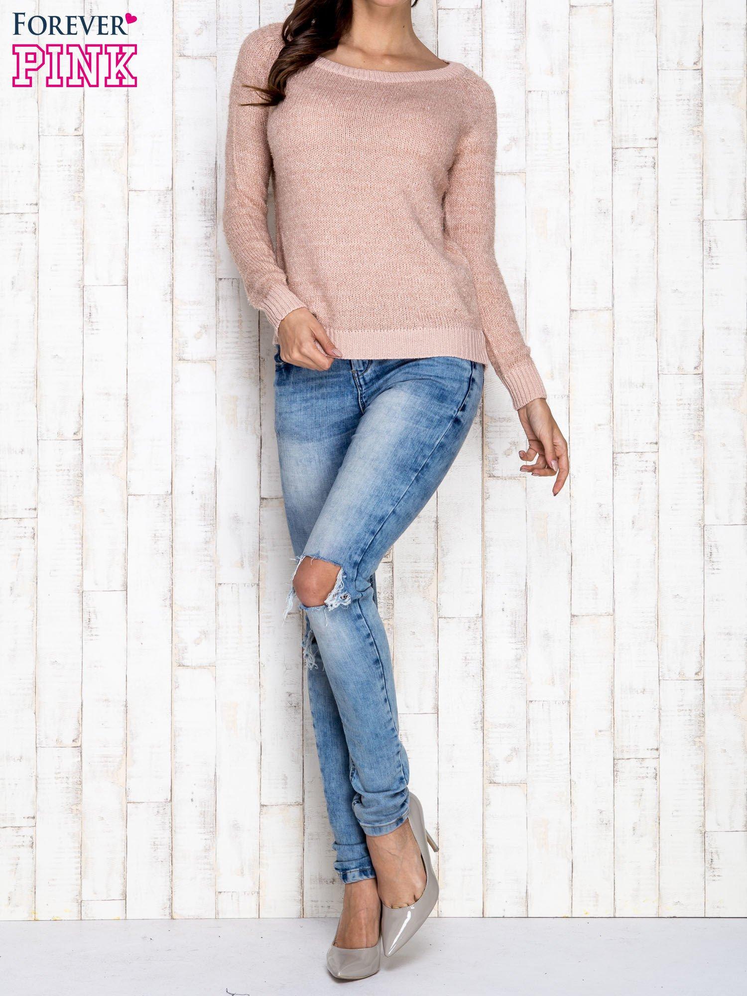 Morelowy sweter z błyszczącą nitką                                  zdj.                                  2
