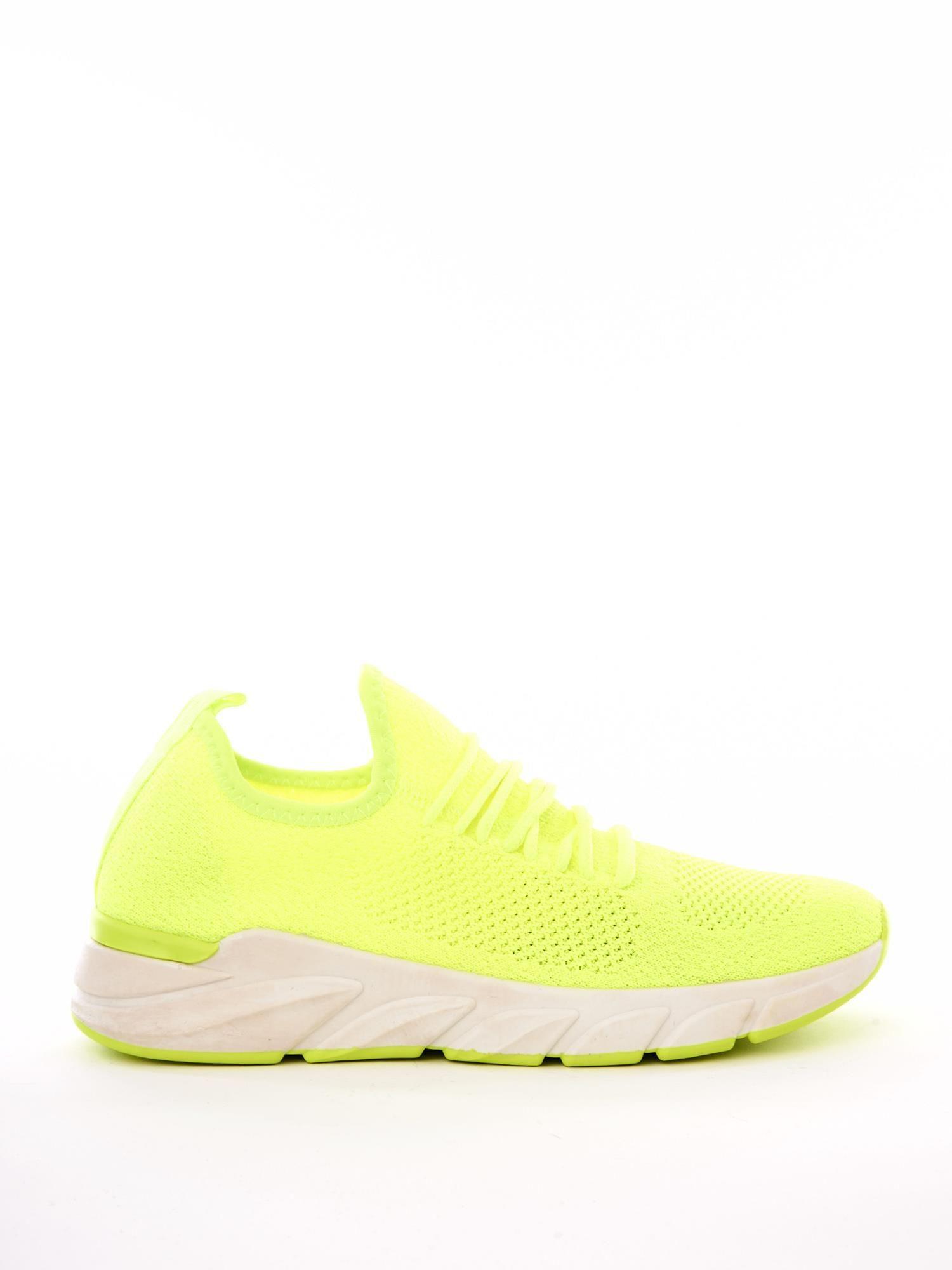 1b8ed0cf342c7 Neonowe żółte dzianinowe buty sportowe na profilowanej podeszwie ...