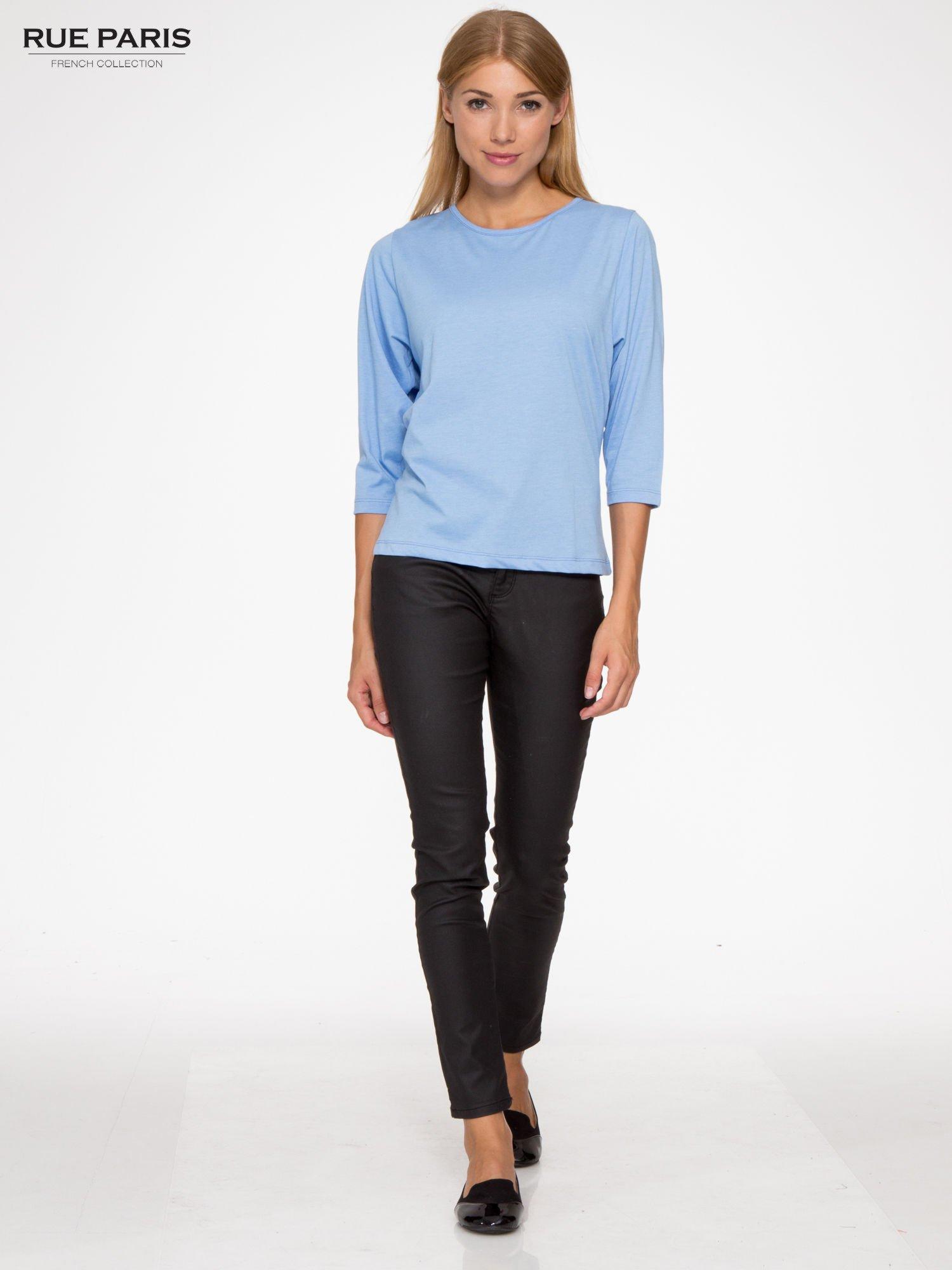 Niebieska basicowa bluzka z rękawem 3/4                                  zdj.                                  2