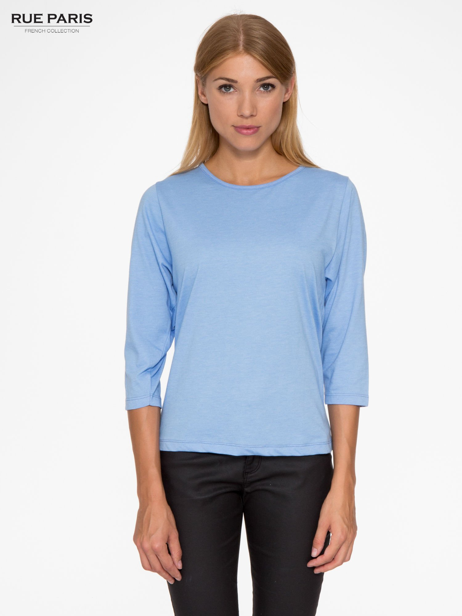 Niebieska basicowa bluzka z rękawem 3/4                                  zdj.                                  1
