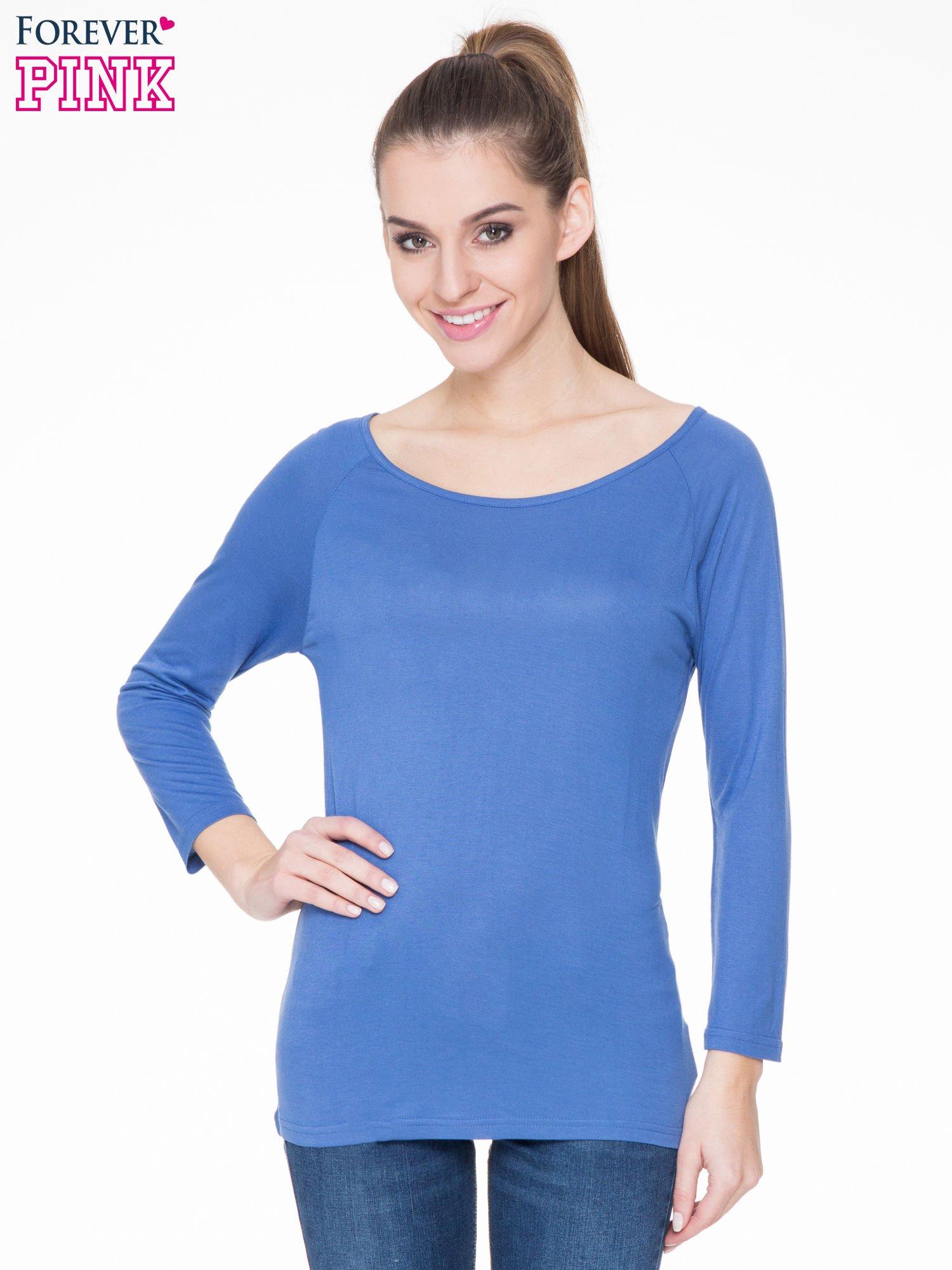 Niebieska basicowa gładka bluzka z rękawem 7/8                                  zdj.                                  1