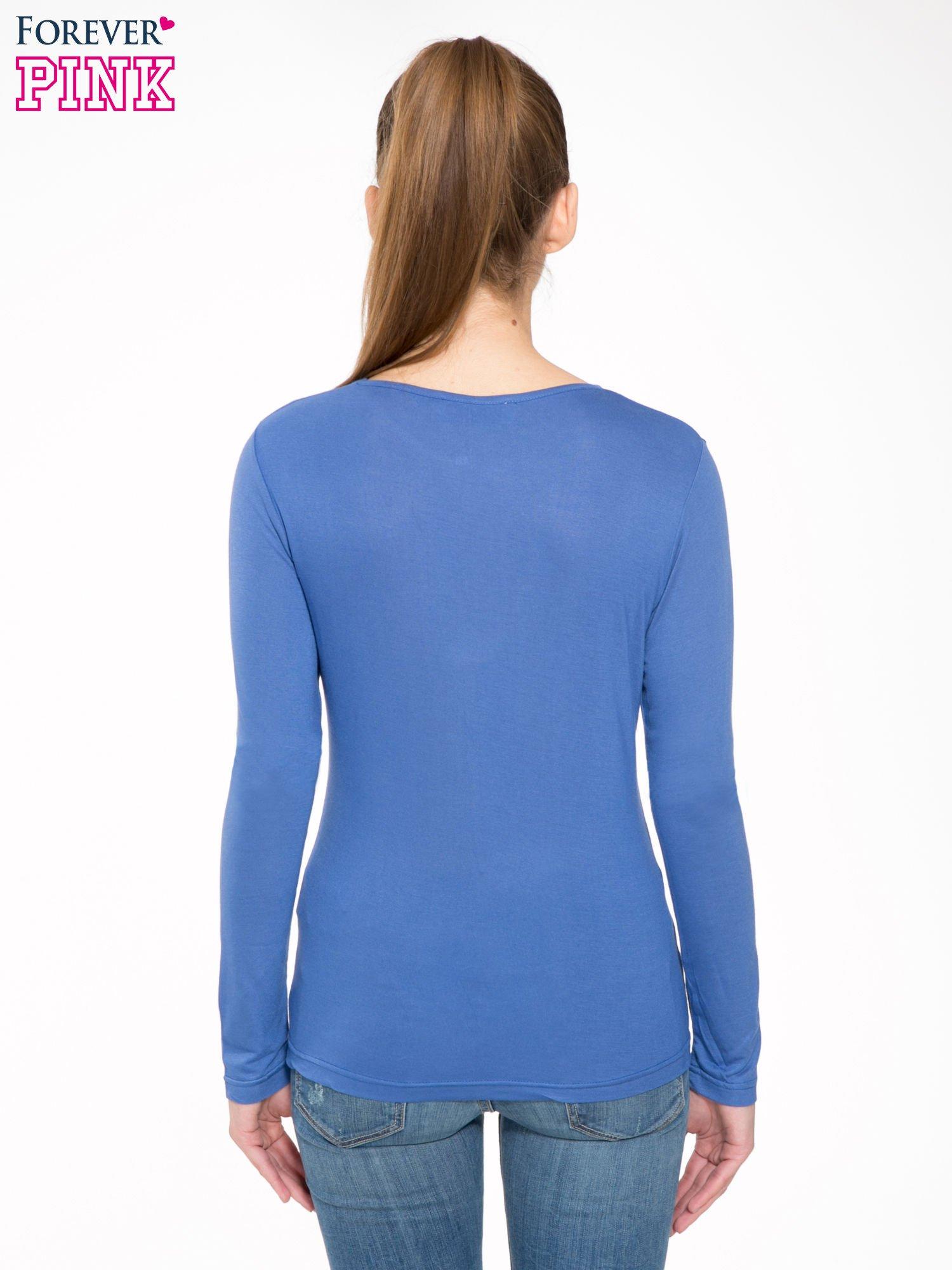 Niebieska bawełniana bluzka typu basic z długim rękawem                                  zdj.                                  4