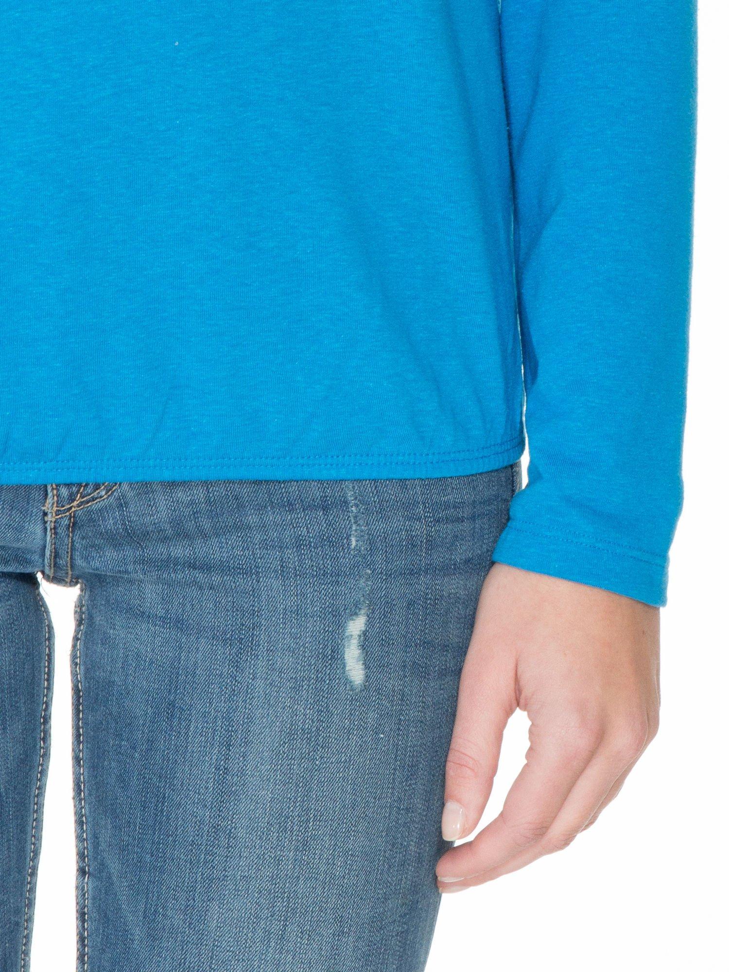 Niebieska bawełniana bluzka z gumką na dole                                  zdj.                                  6