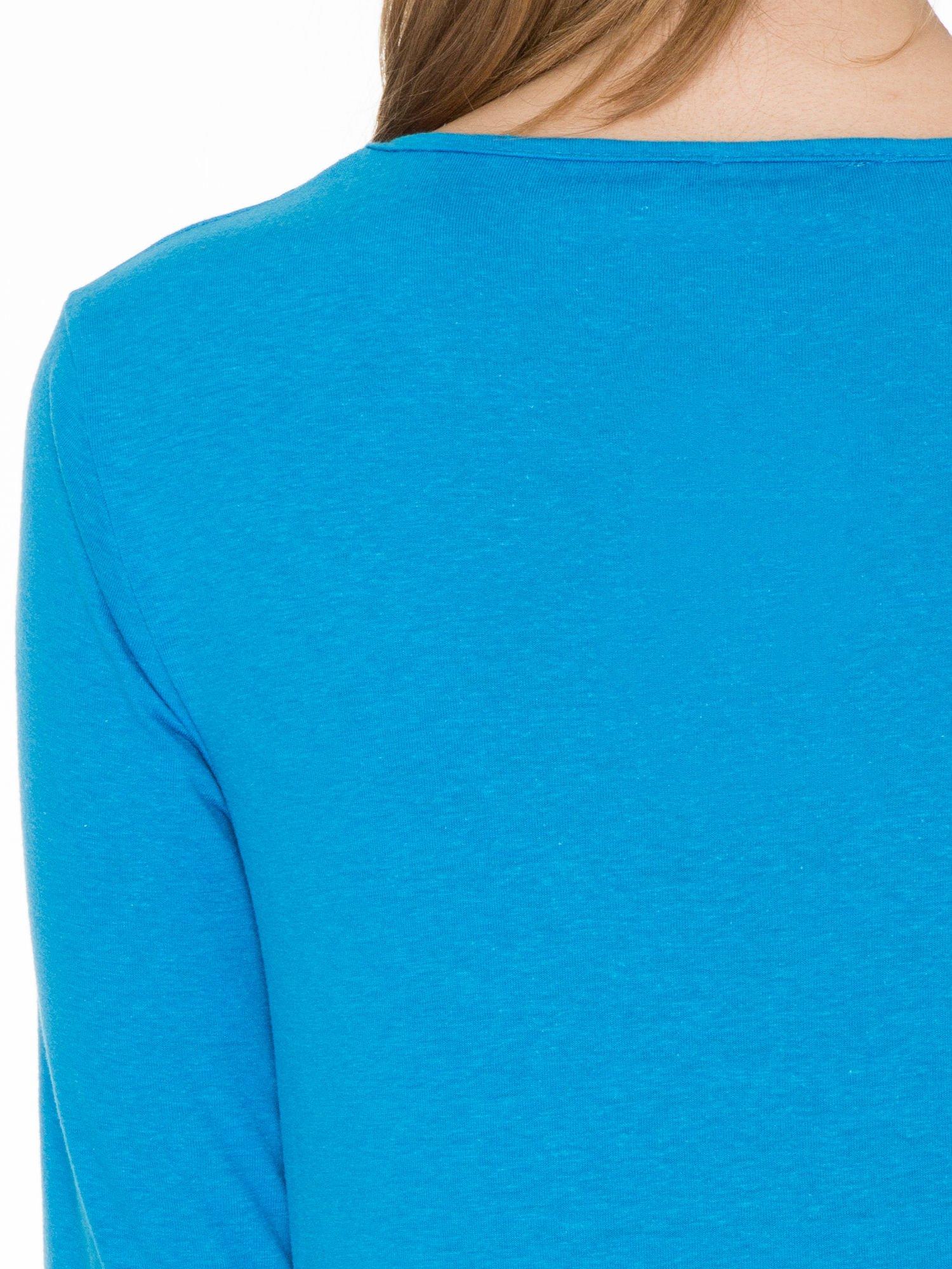 Niebieska bawełniana bluzka z gumką na dole                                  zdj.                                  7