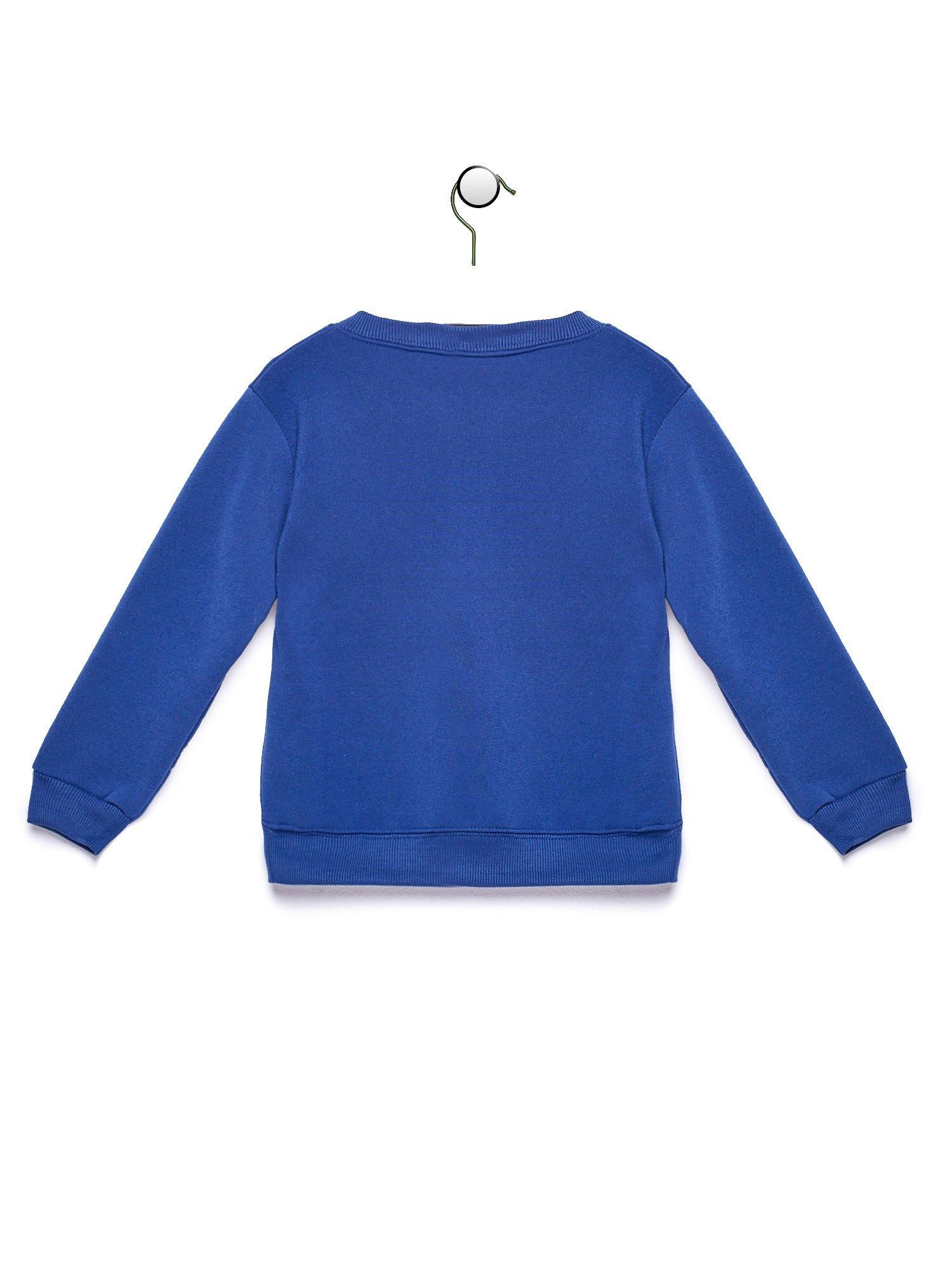 Niebieska bluza chłopięca z nadrukiem samochodu
