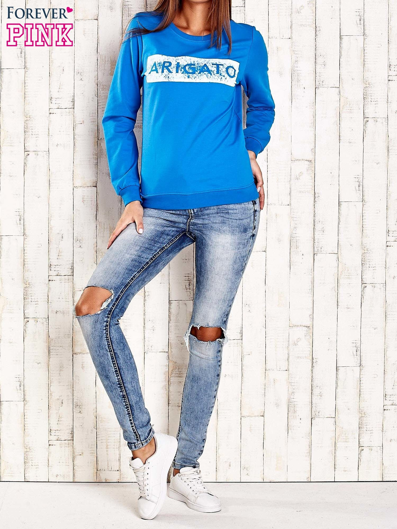 Niebieska bluza z napisem ARIGATO                                  zdj.                                  2