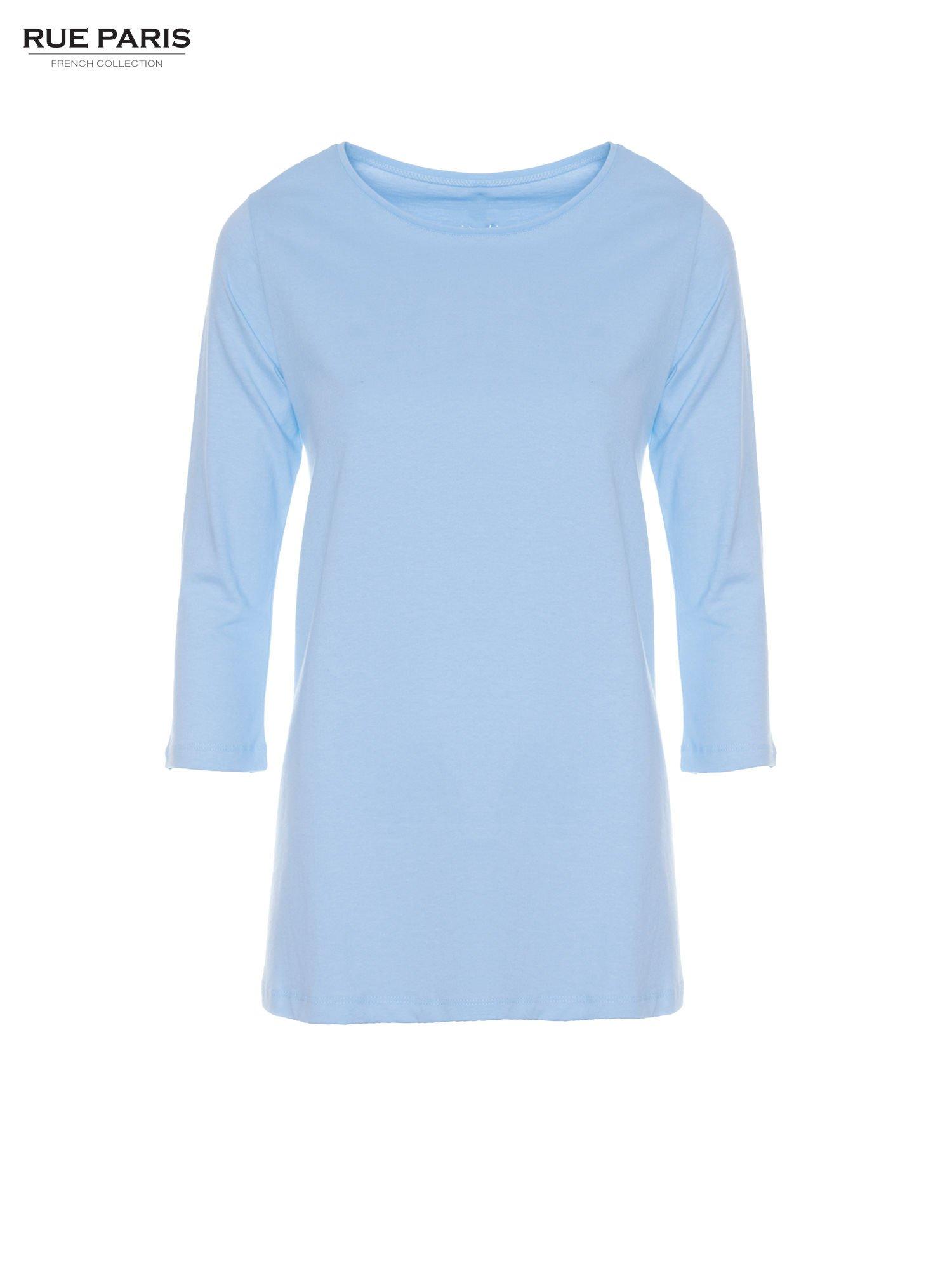 Niebieska bluzka o rozkloszowanym kroju z rękawem 3/4                                  zdj.                                  5