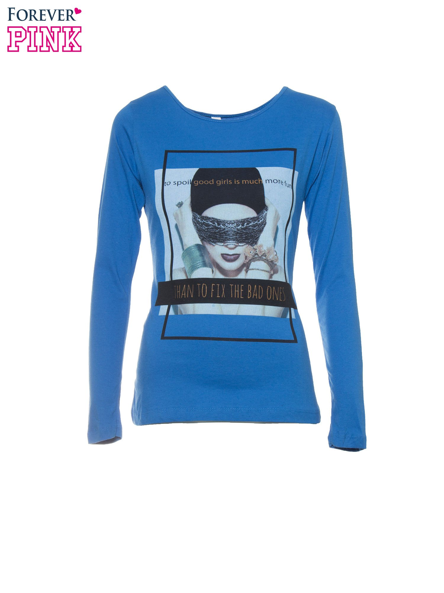 Niebieska bluzka z portretem kobiety i napisem GOOD GIRLS...                                  zdj.                                  5