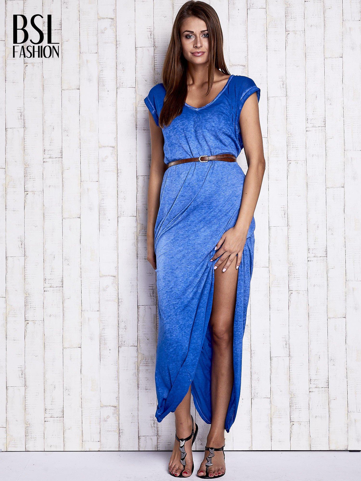 Niebieska dekatyzowana sukienka maxi                                  zdj.                                  4
