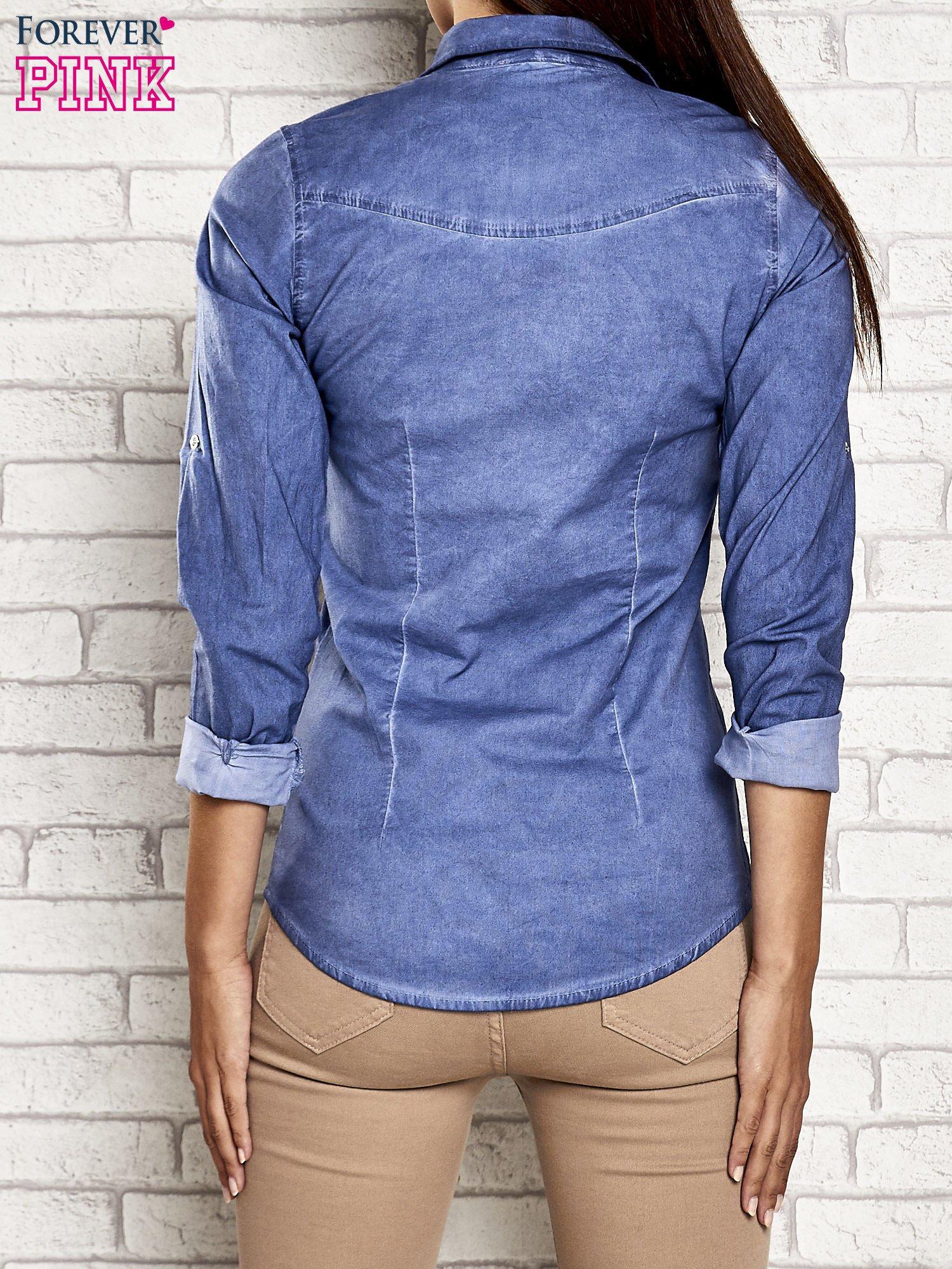 Niebieska denimowa koszula acid wash                                  zdj.                                  5
