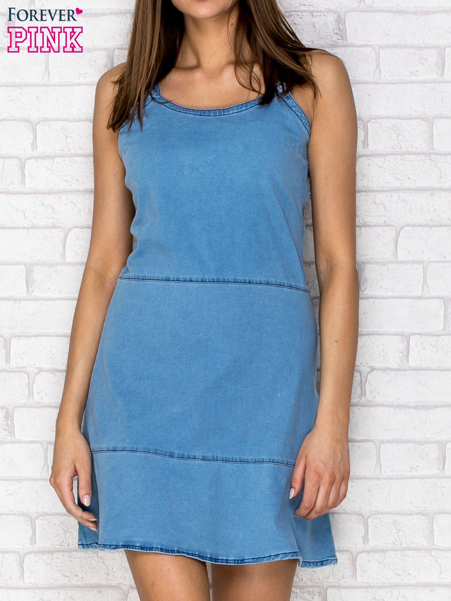 Niebieska denimowa sukienka na ramiączkach                                  zdj.                                  1