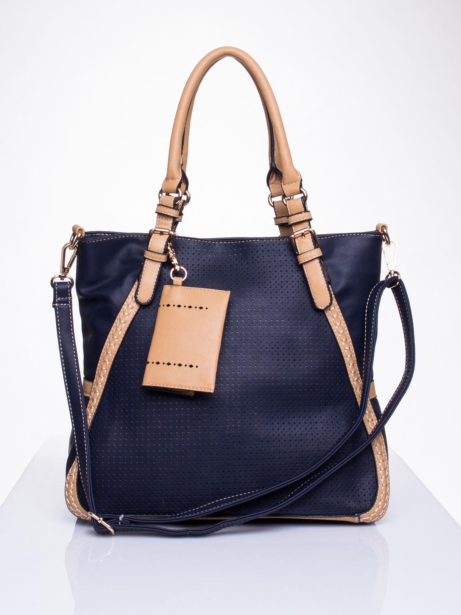 Niebieska dziurkowana torba shopper z portfelem                                  zdj.                                  1