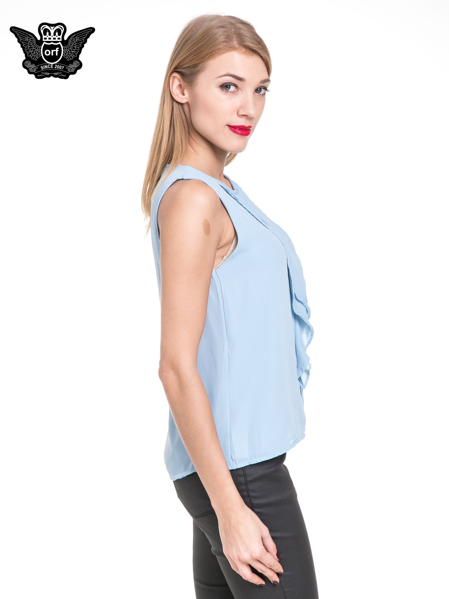 Niebieska elegancka koszula z żabotem                                  zdj.                                  3