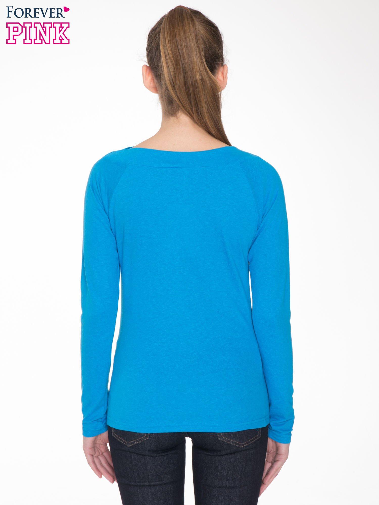 Niebieska gładka bluzka z reglanowymi rękawami                                  zdj.                                  4