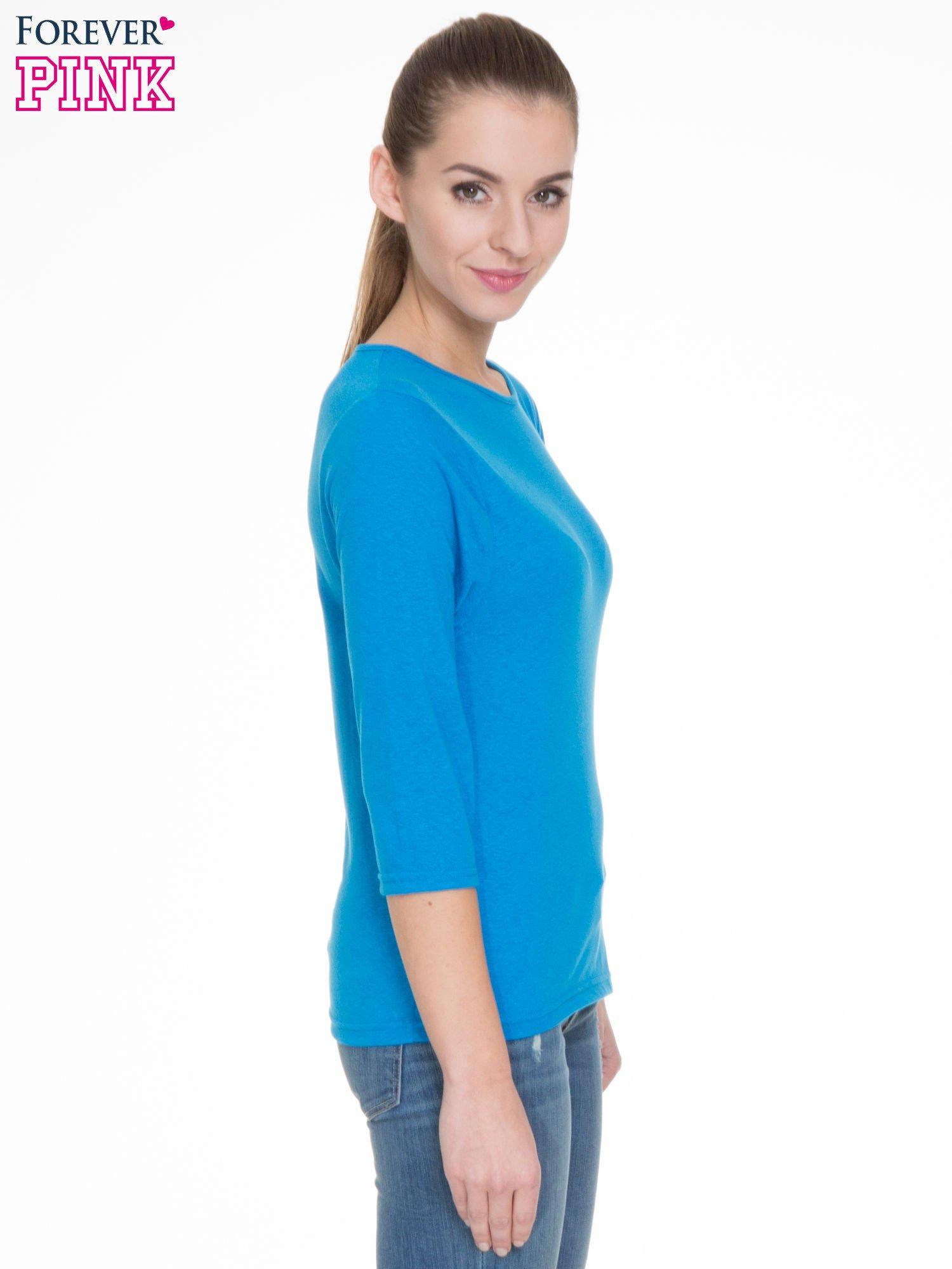 Niebieska gładka bluzka z rękawem 3/4                                  zdj.                                  3
