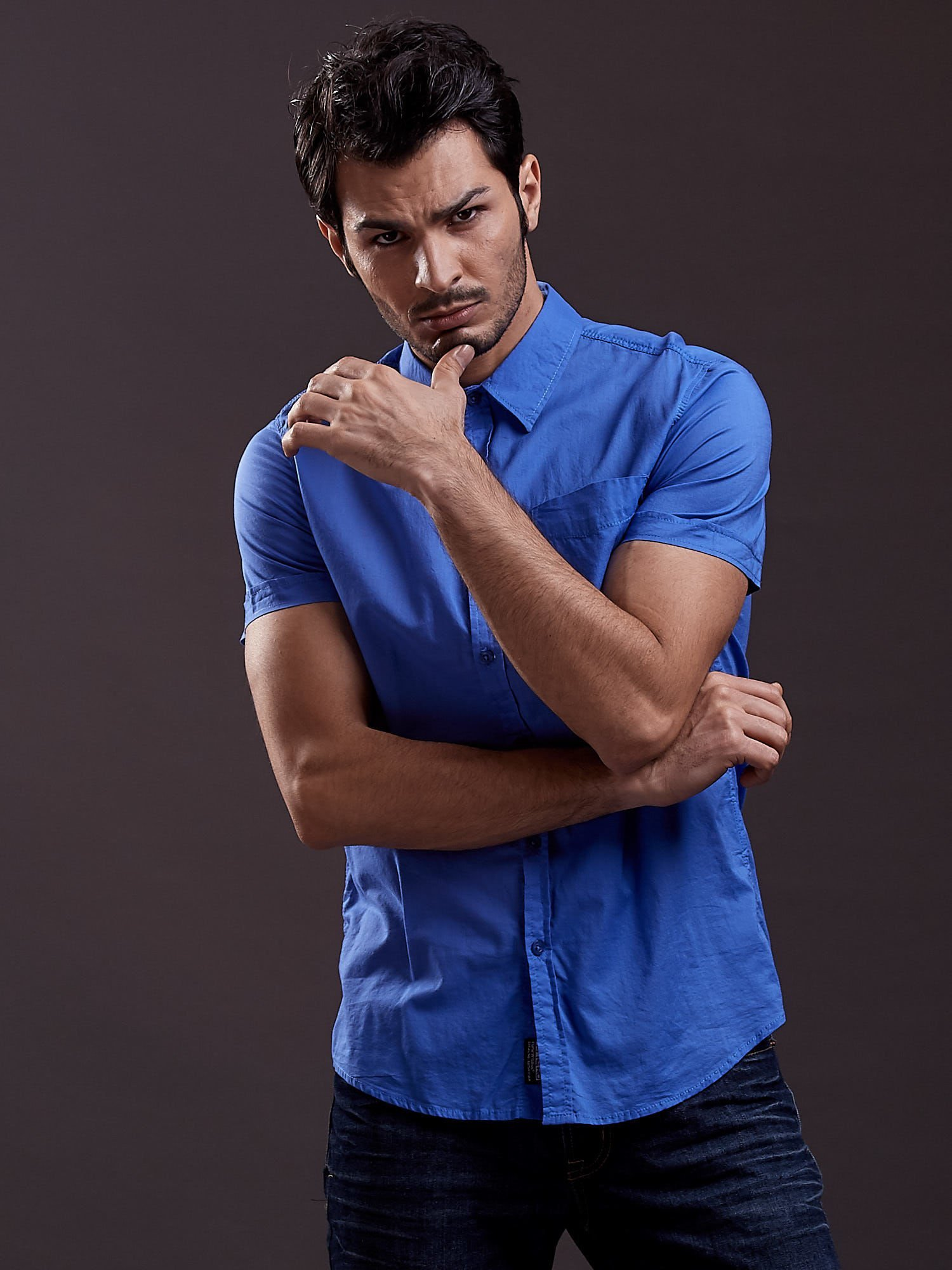 Niebieska gładka koszula męska Funk n Soul                                  zdj.                                  5