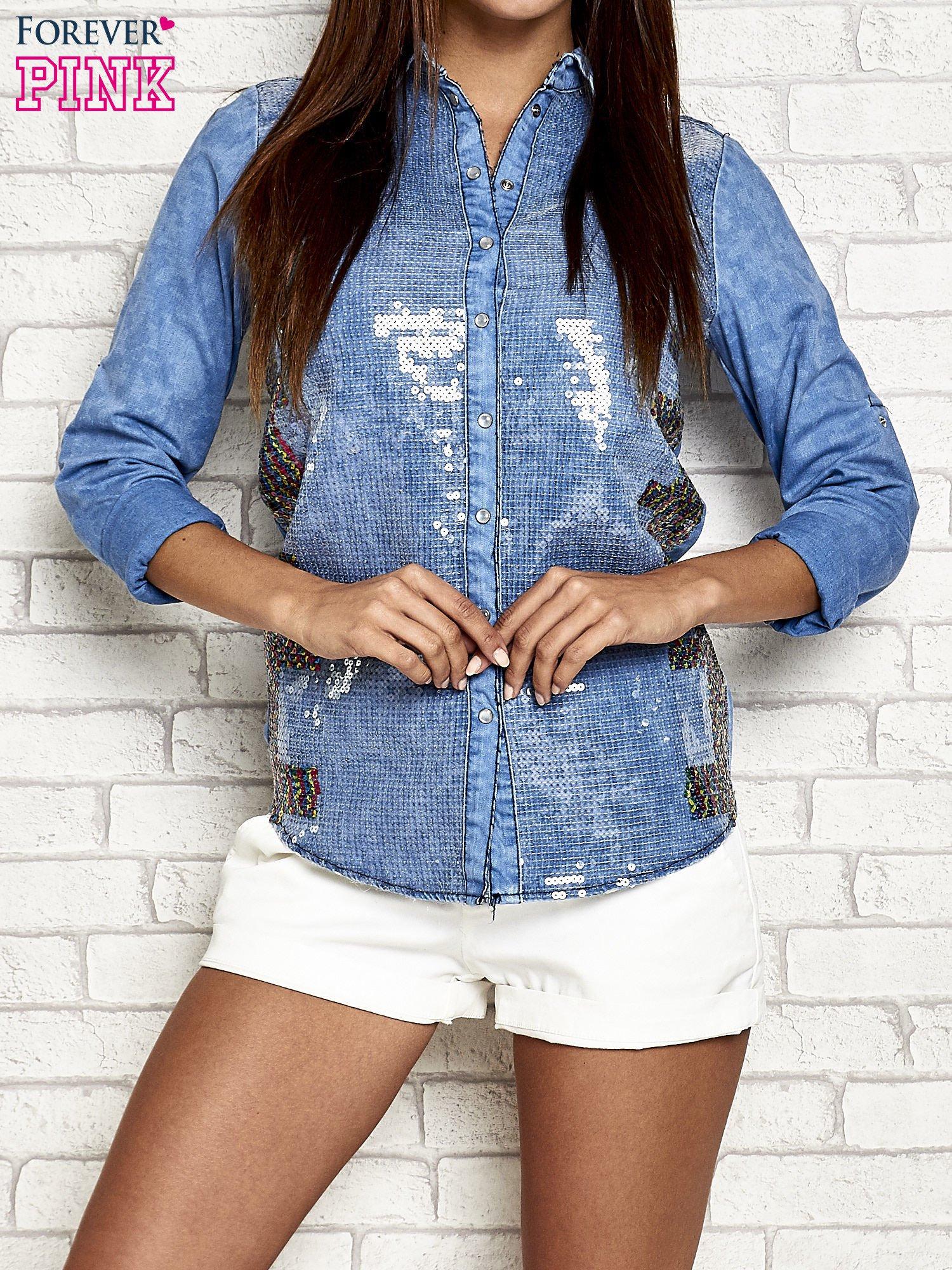 Niebieska jeansowa koszula z cekinami                                  zdj.                                  1