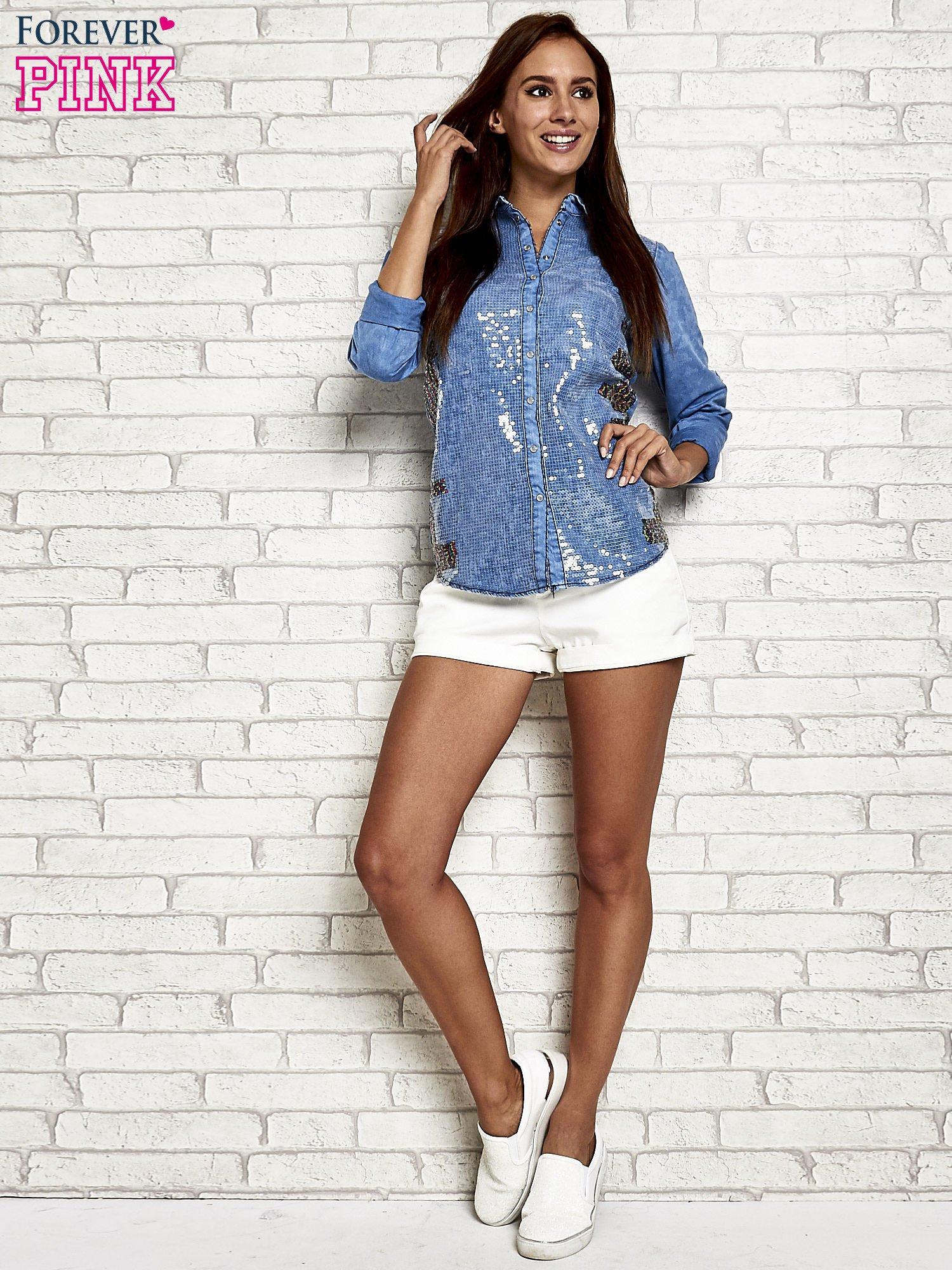 Niebieska jeansowa koszula z cekinami                                  zdj.                                  2