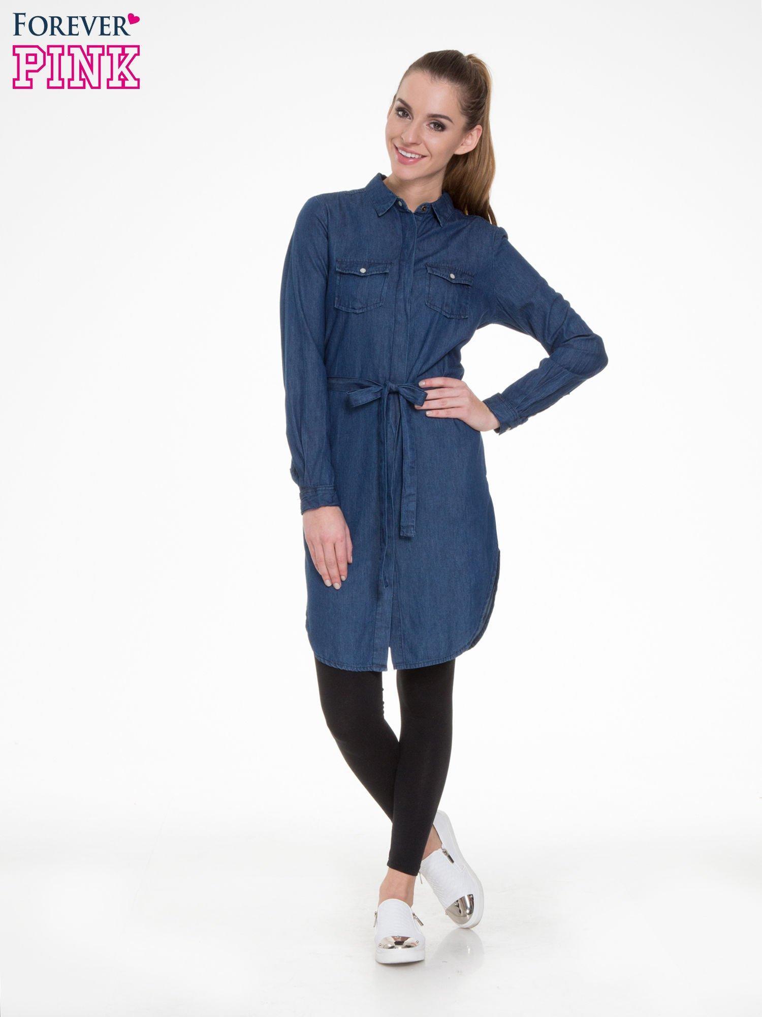 Niebieska jeansowa sukienka typu szmizjerka                                  zdj.                                  2