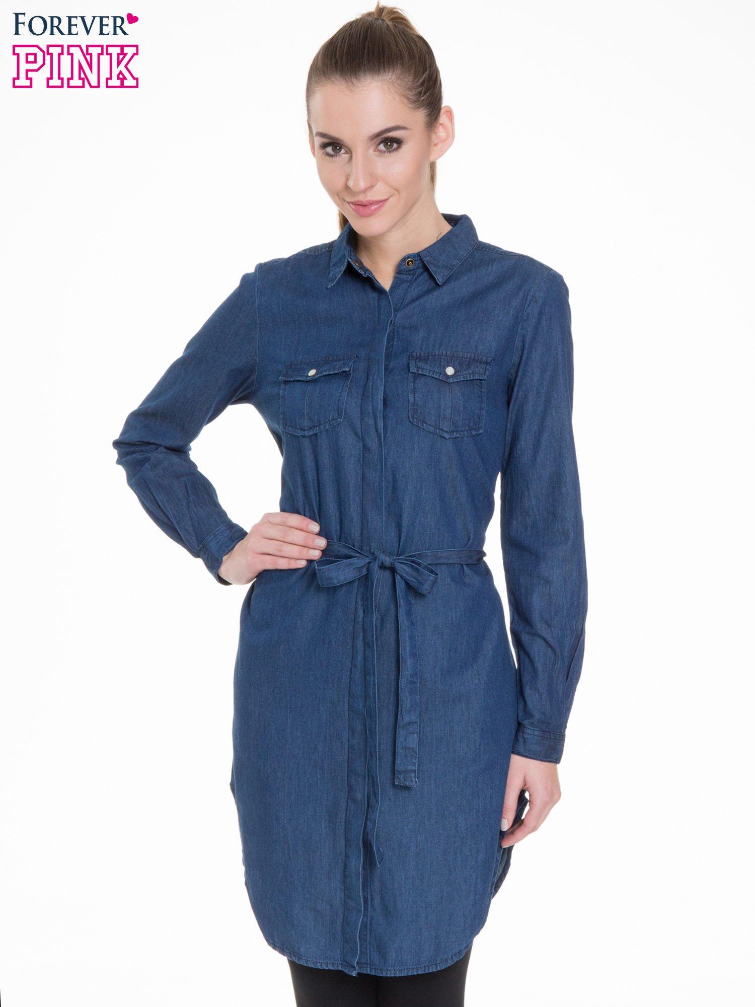 4329f90453 Niebieska jeansowa sukienka typu szmizjerka - Bluzka Tunika - sklep ...