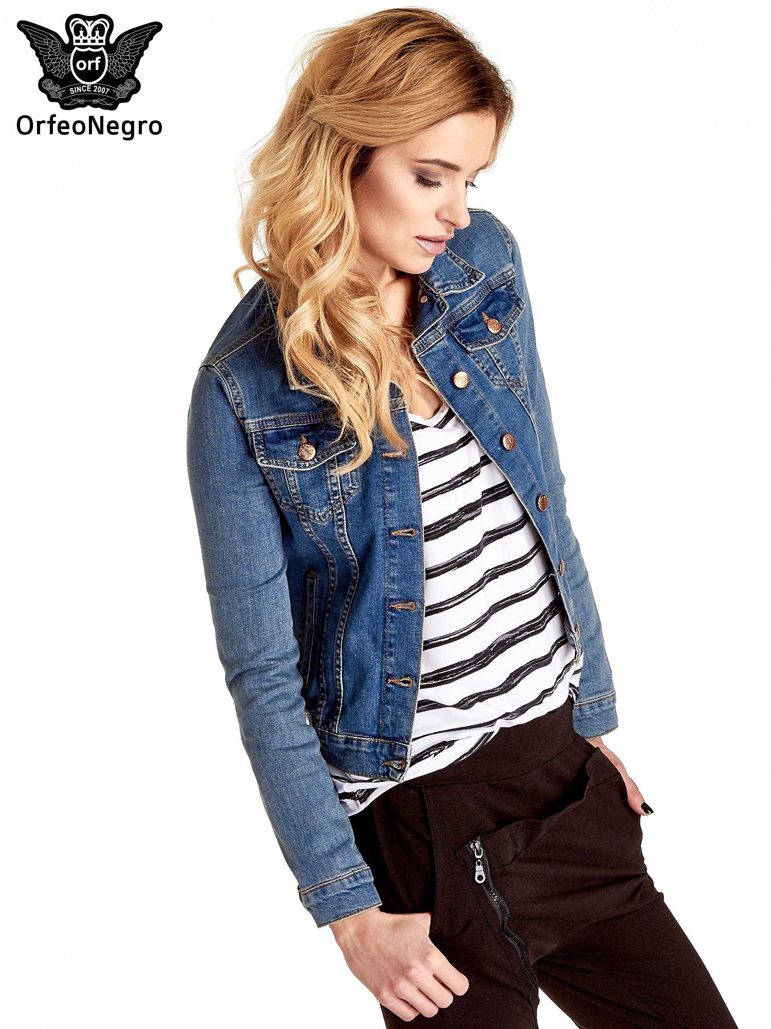 Niebieska klasyczna kurtka jeansowa damska                                  zdj.                                  3