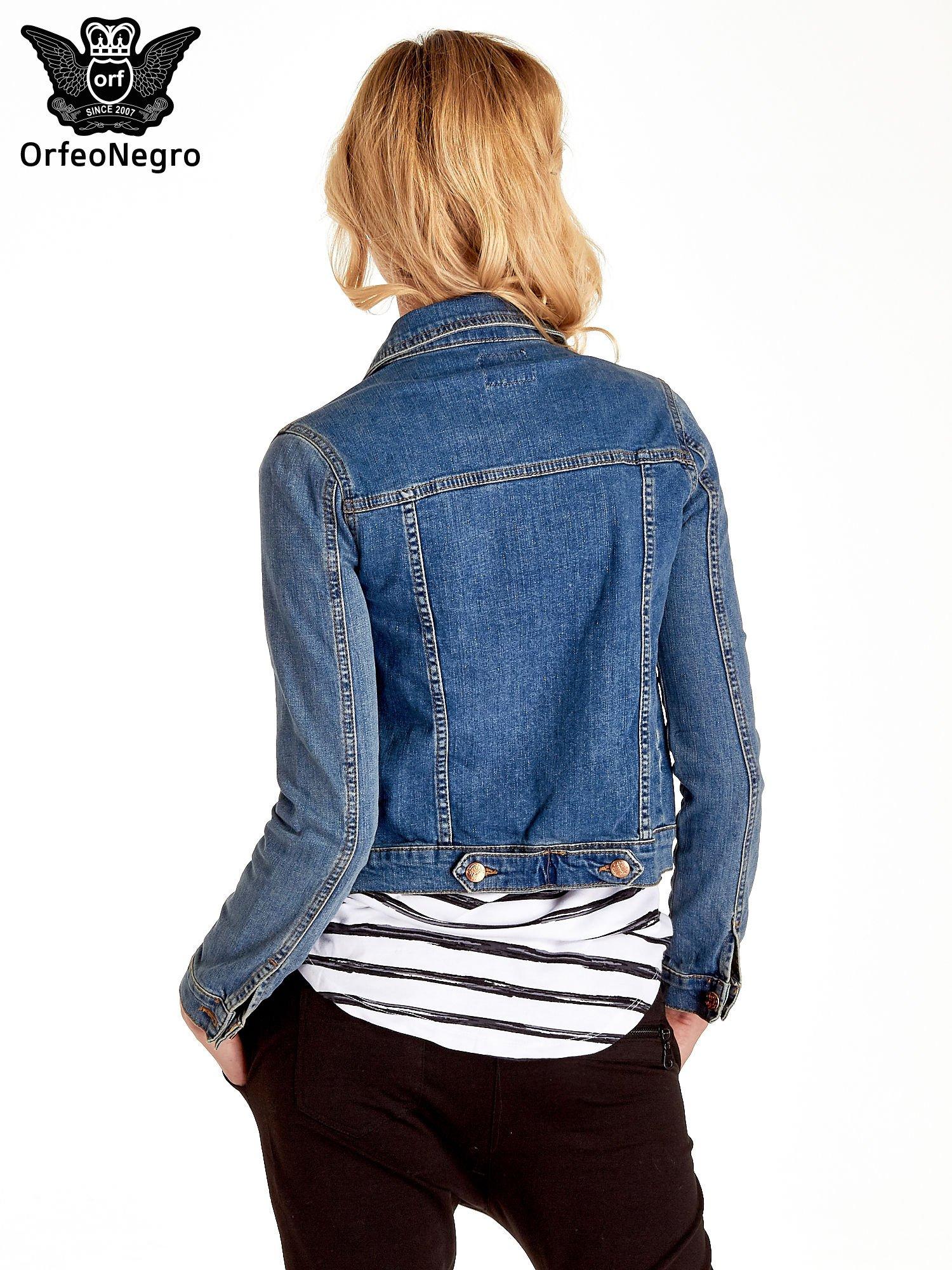 Niebieska klasyczna kurtka jeansowa damska                                  zdj.                                  4