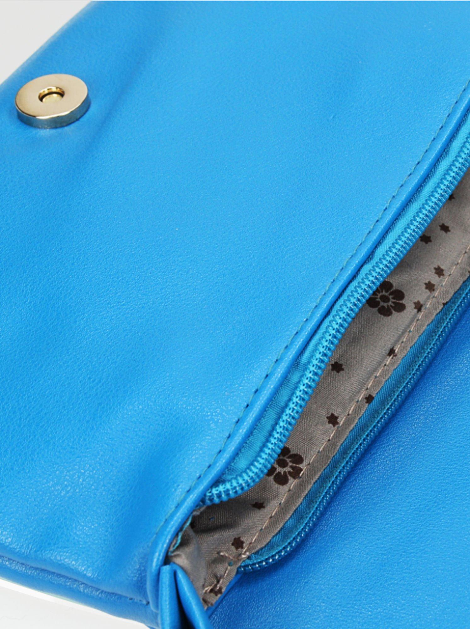 Niebieska kopertówka z dżetami i odpinanym paskiem                                  zdj.                                  6
