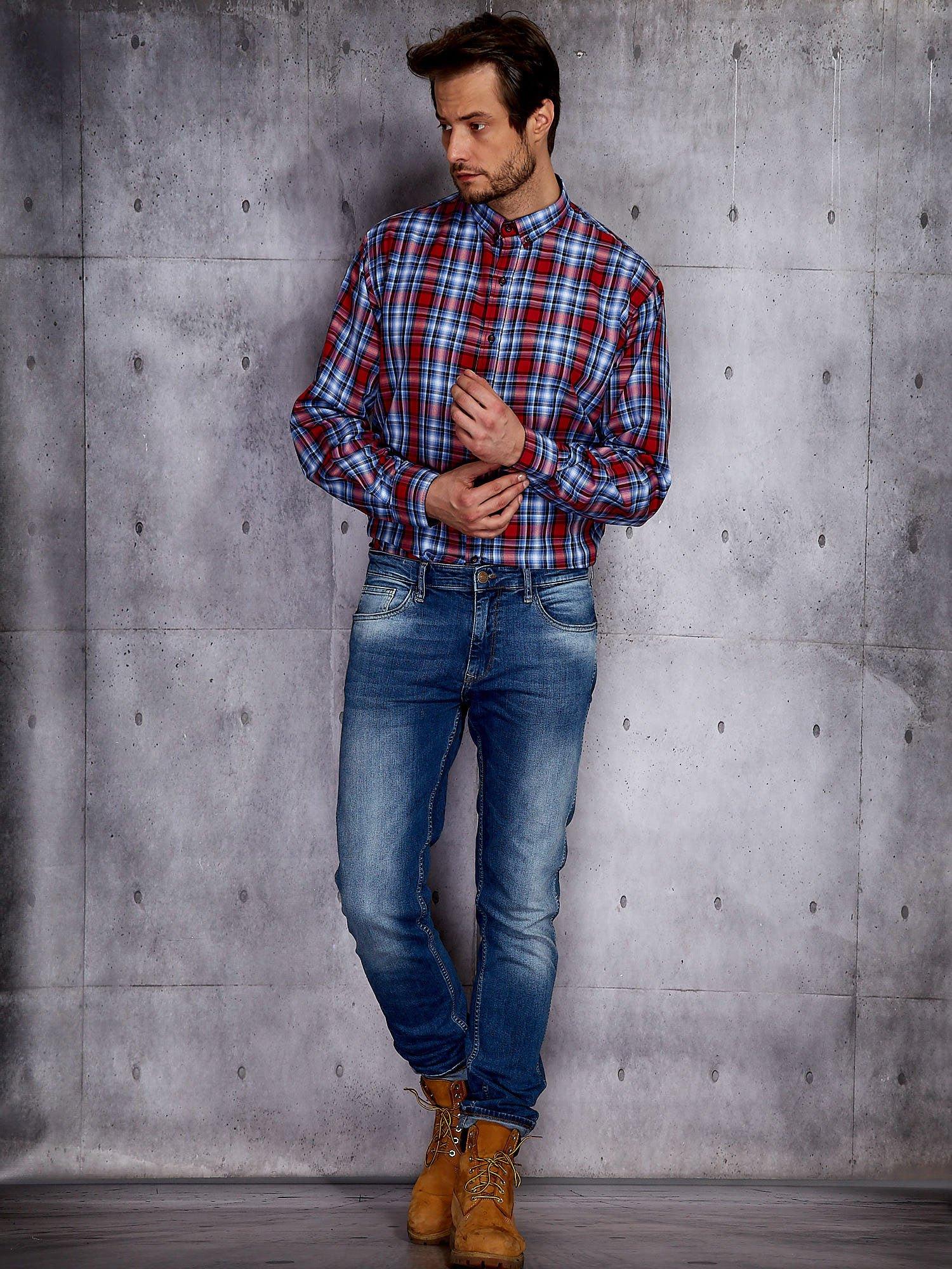 Niebieska koszula męska w czerwoną kratę PLUS SIZE