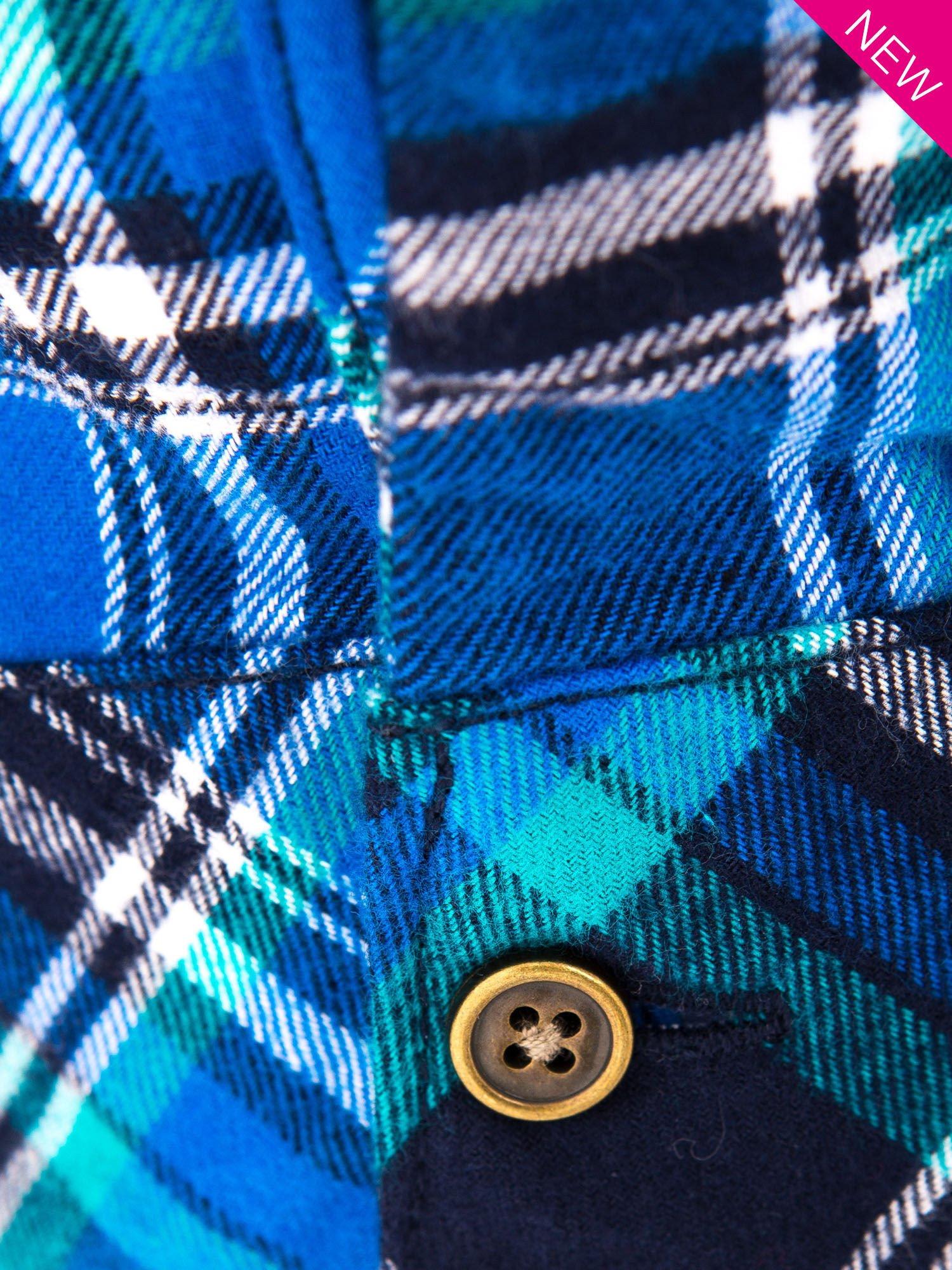 Niebieska koszula w kratę z kieszonką z przodu                                  zdj.                                  8