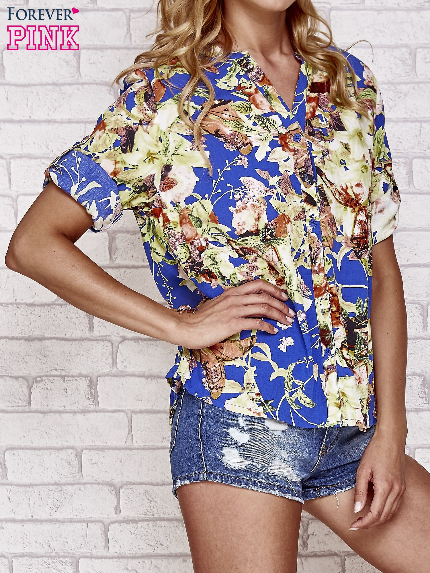 Niebieska koszula z nadrukiem kwiatowym                                  zdj.                                  3